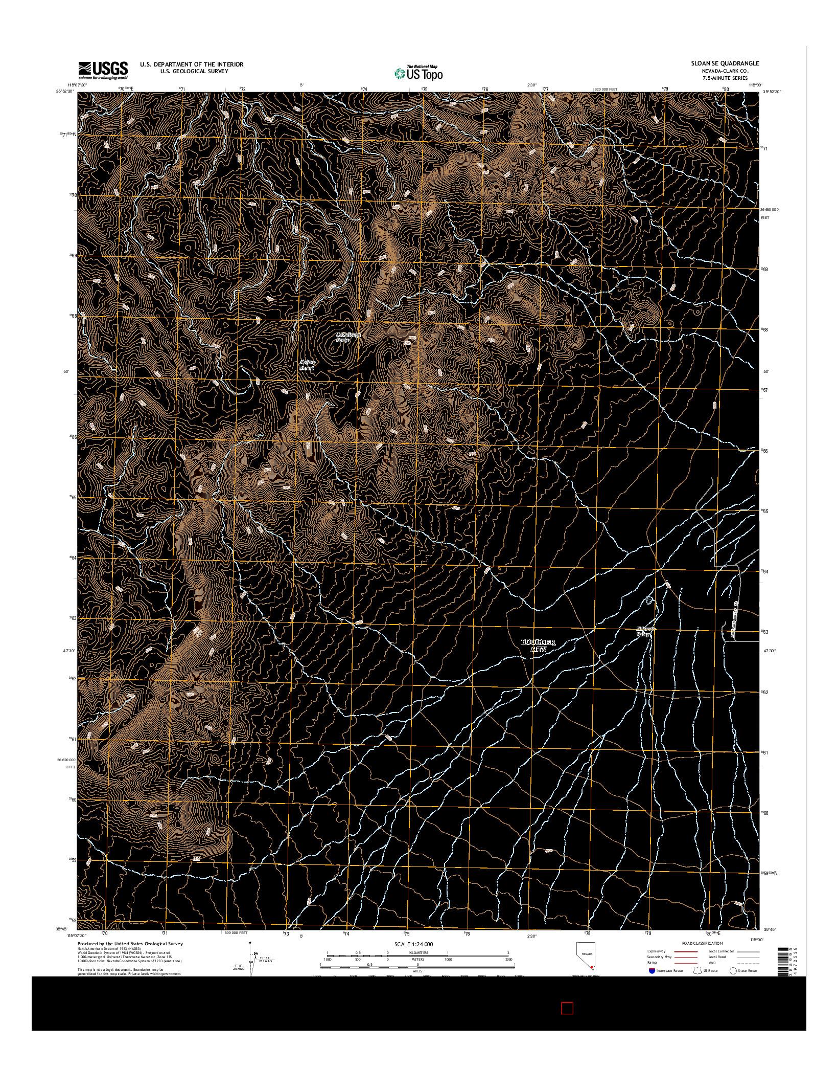 USGS US TOPO 7.5-MINUTE MAP FOR SLOAN SE, NV 2014