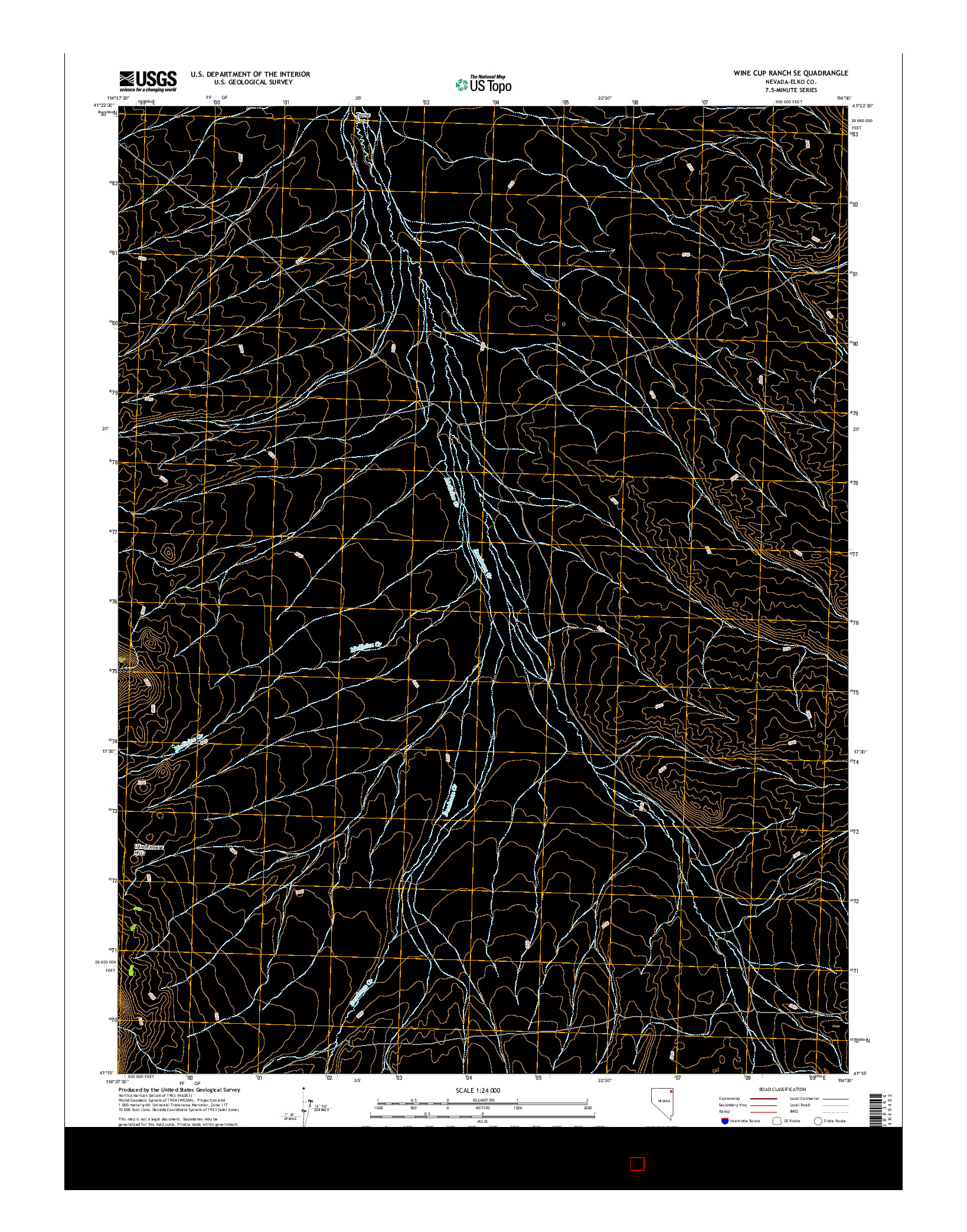 USGS US TOPO 7.5-MINUTE MAP FOR WINE CUP RANCH SE, NV 2014