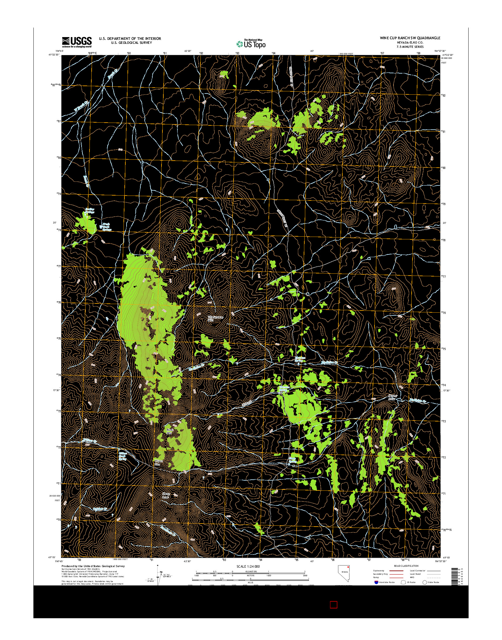 USGS US TOPO 7.5-MINUTE MAP FOR WINE CUP RANCH SW, NV 2014