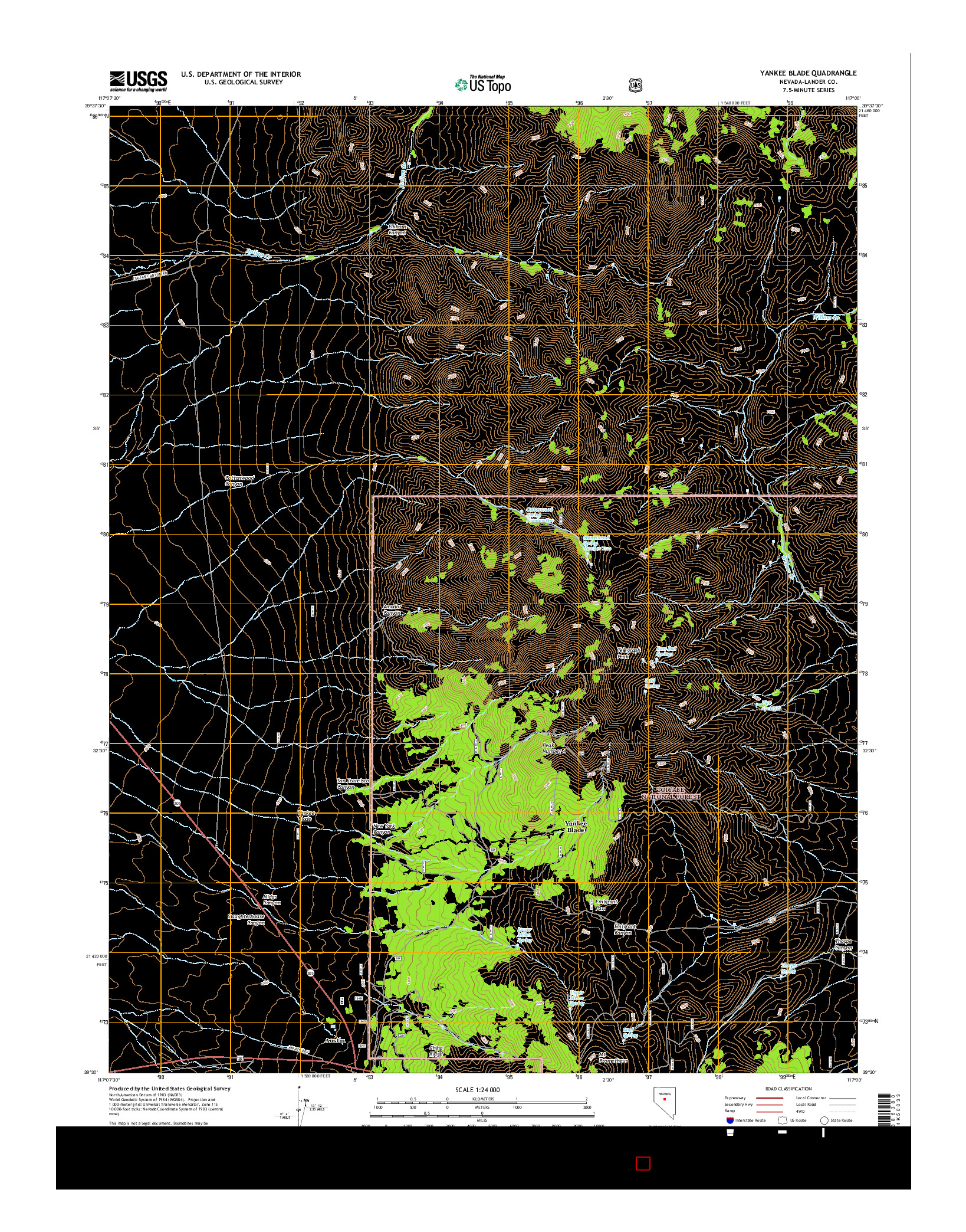 USGS US TOPO 7.5-MINUTE MAP FOR YANKEE BLADE, NV 2014