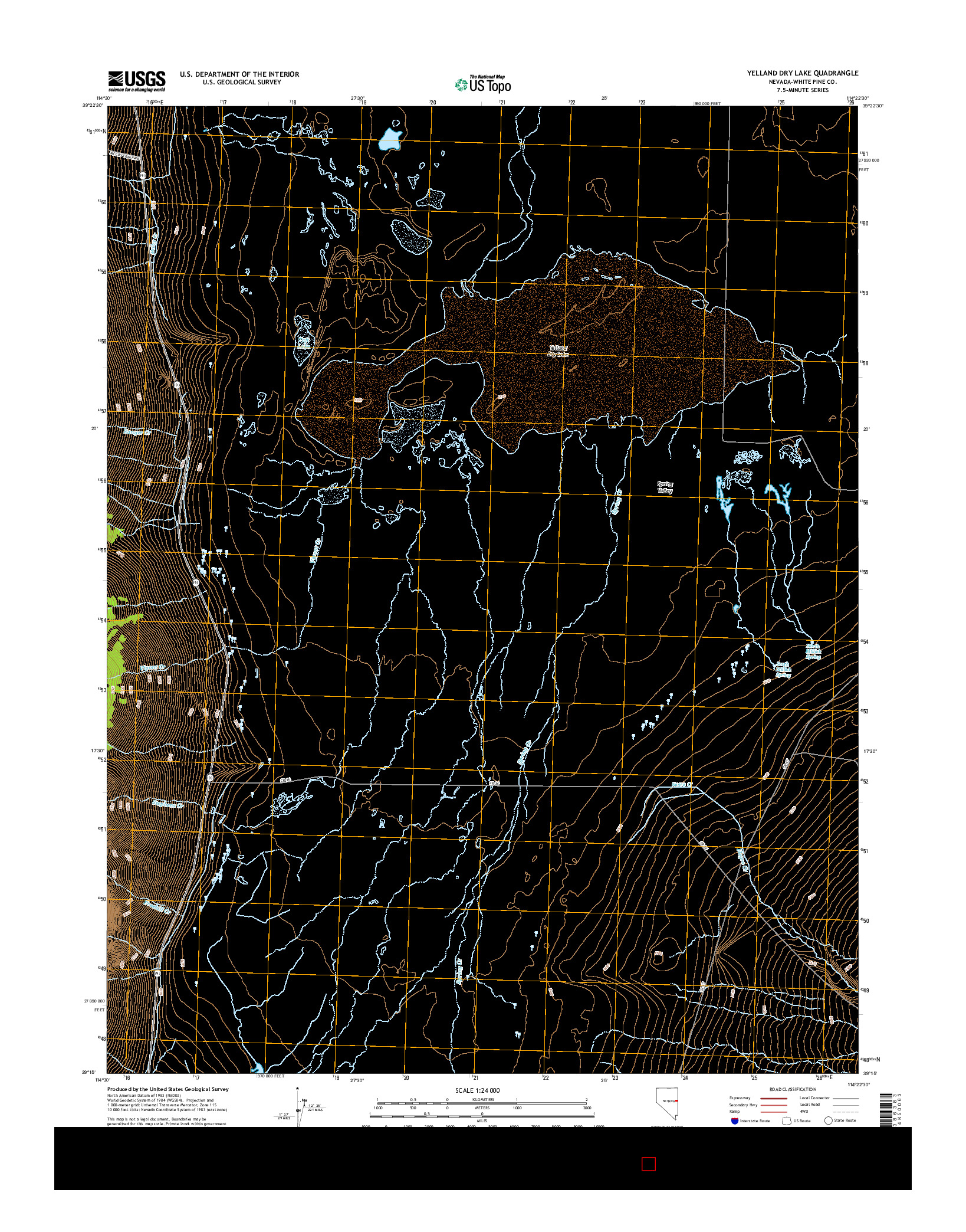 USGS US TOPO 7.5-MINUTE MAP FOR YELLAND DRY LAKE, NV 2014