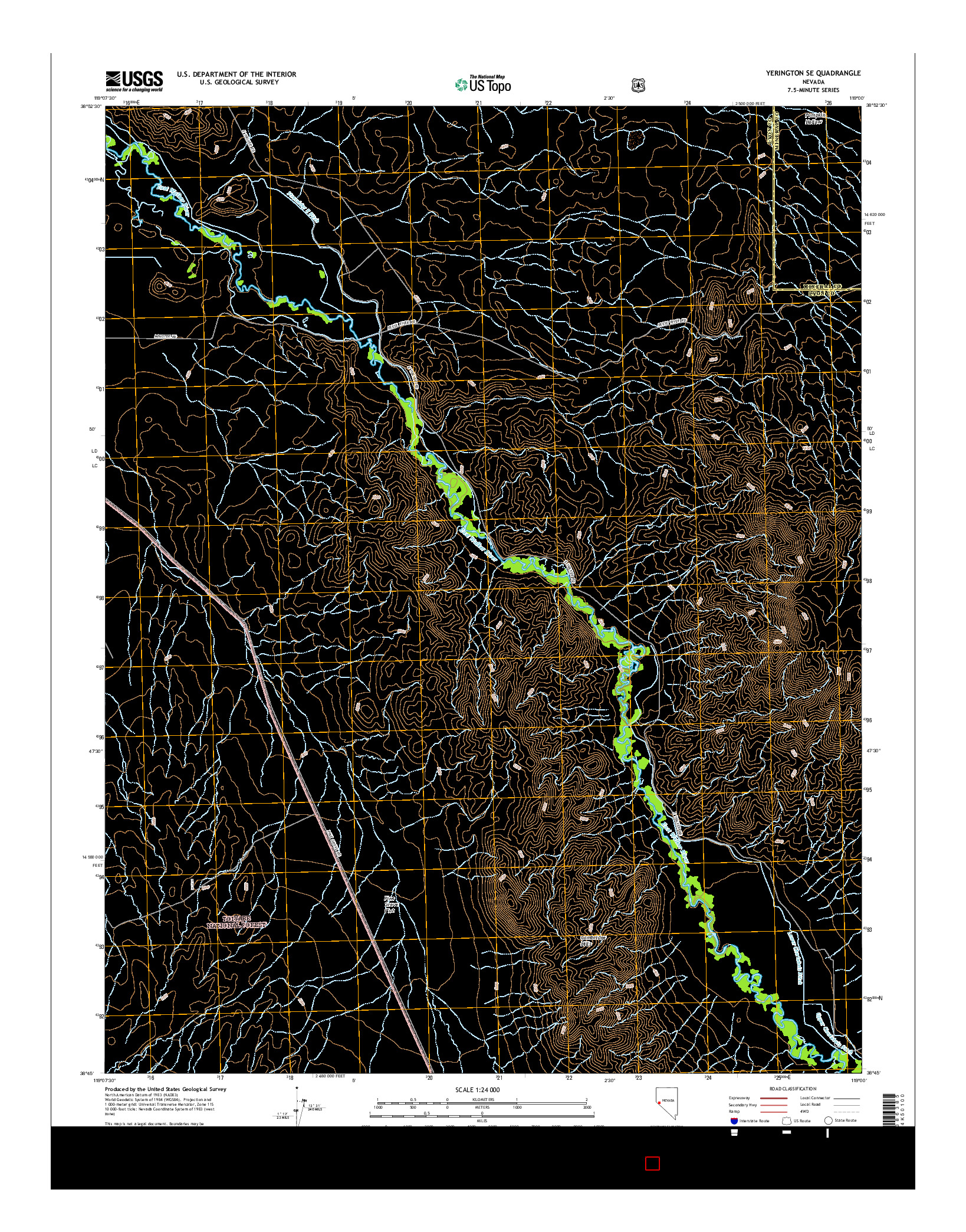 USGS US TOPO 7.5-MINUTE MAP FOR YERINGTON SE, NV 2014