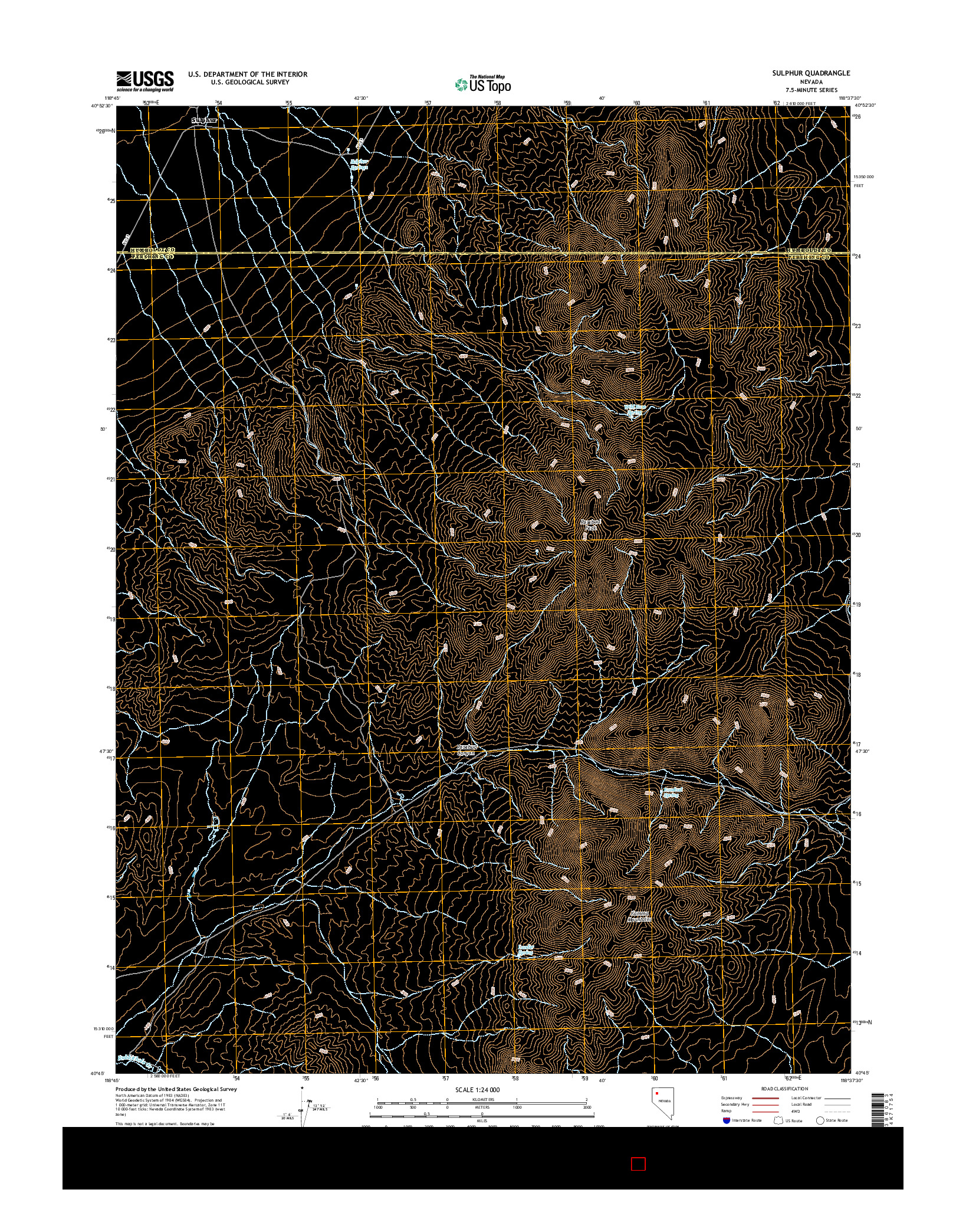 USGS US TOPO 7.5-MINUTE MAP FOR SULPHUR, NV 2014