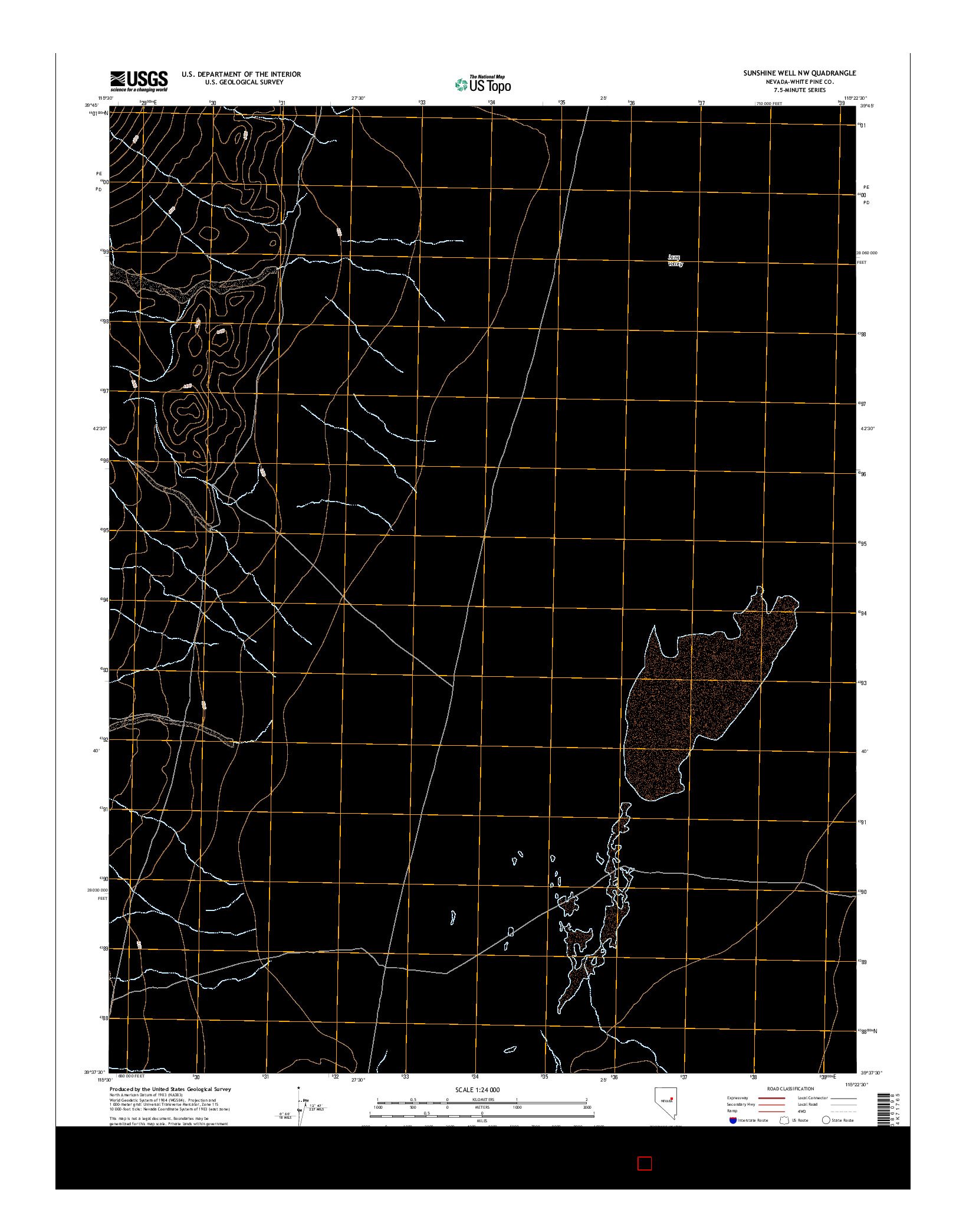 USGS US TOPO 7.5-MINUTE MAP FOR SUNSHINE WELL NW, NV 2014