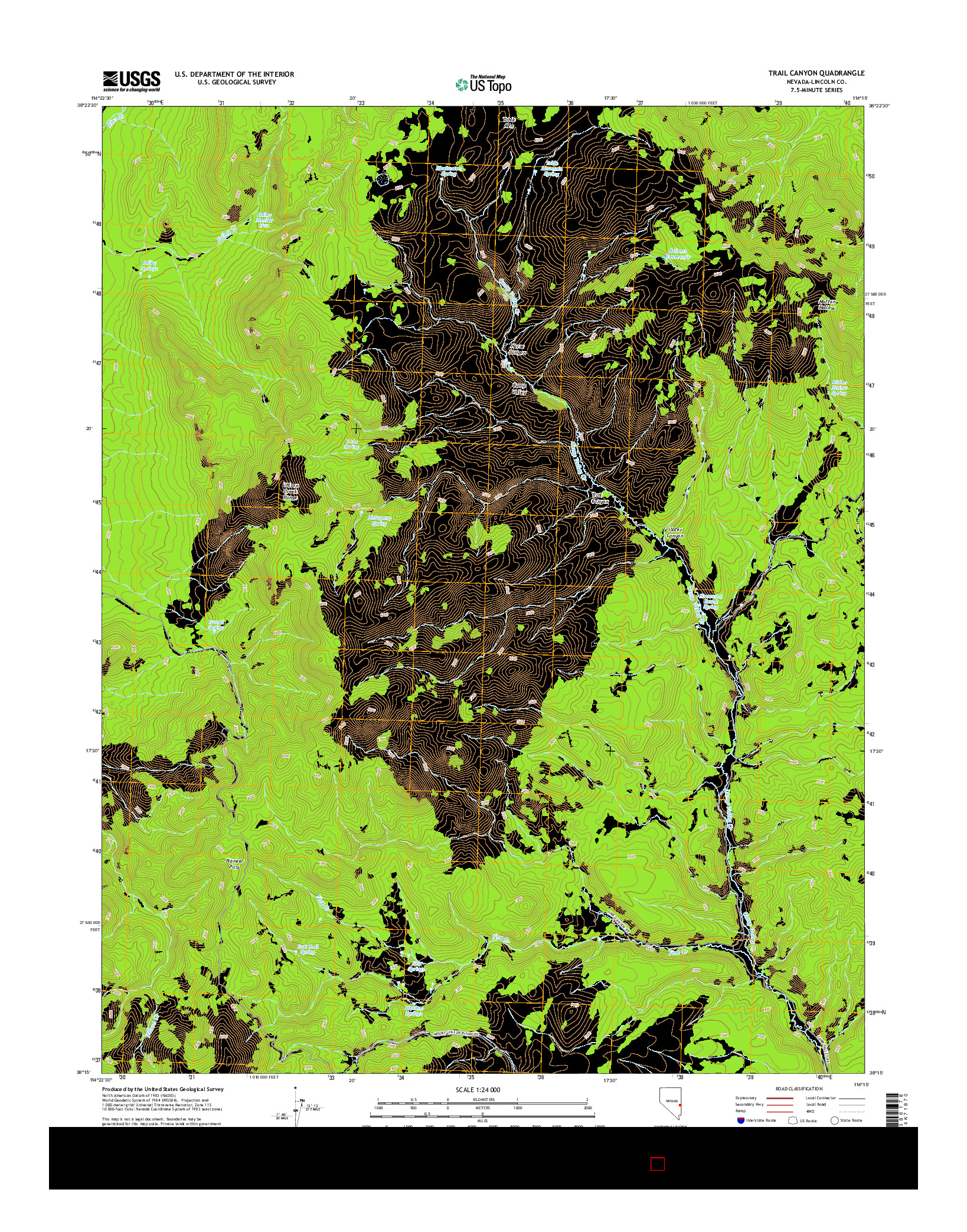 USGS US TOPO 7.5-MINUTE MAP FOR TRAIL CANYON, NV 2014