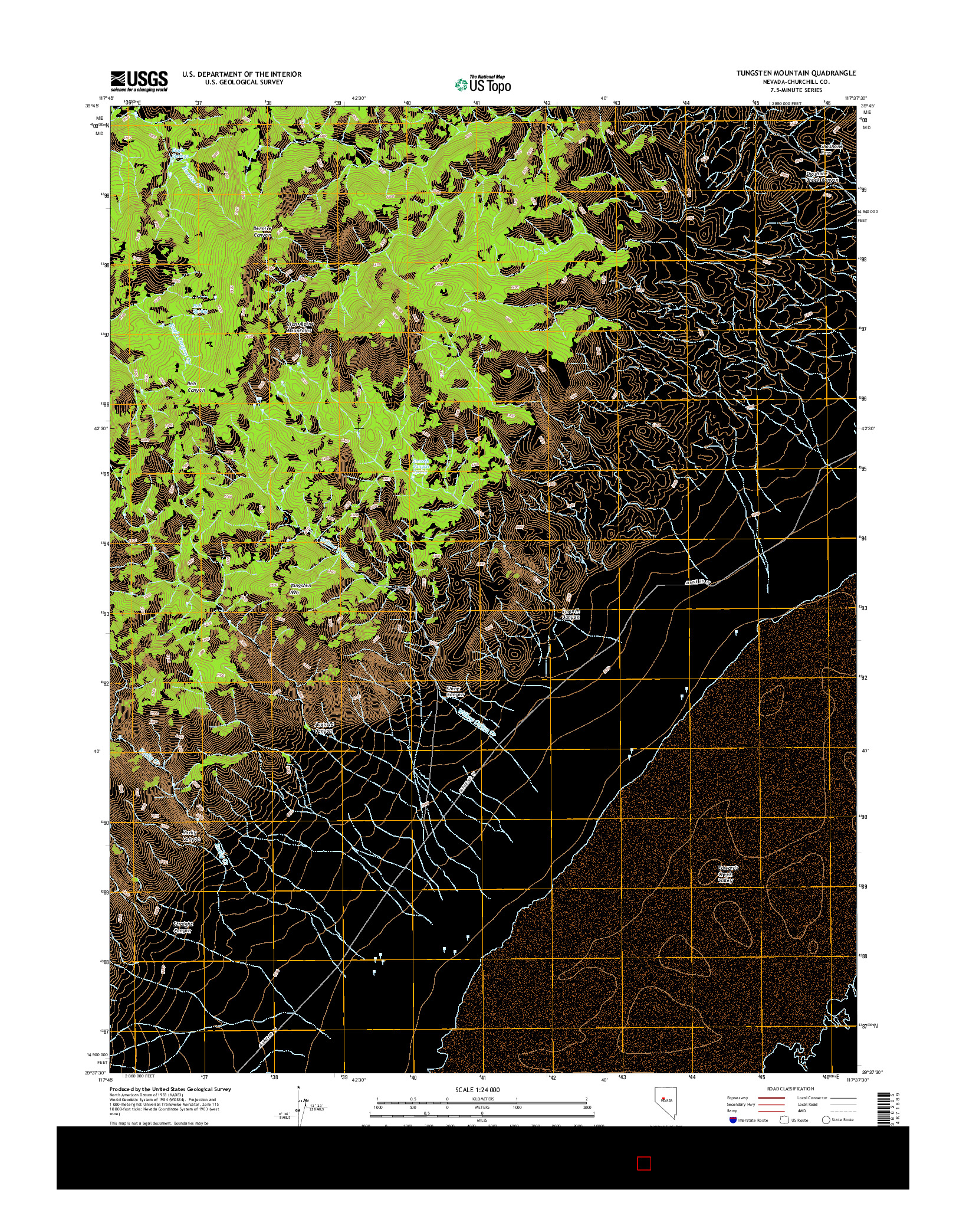 USGS US TOPO 7.5-MINUTE MAP FOR TUNGSTEN MOUNTAIN, NV 2014