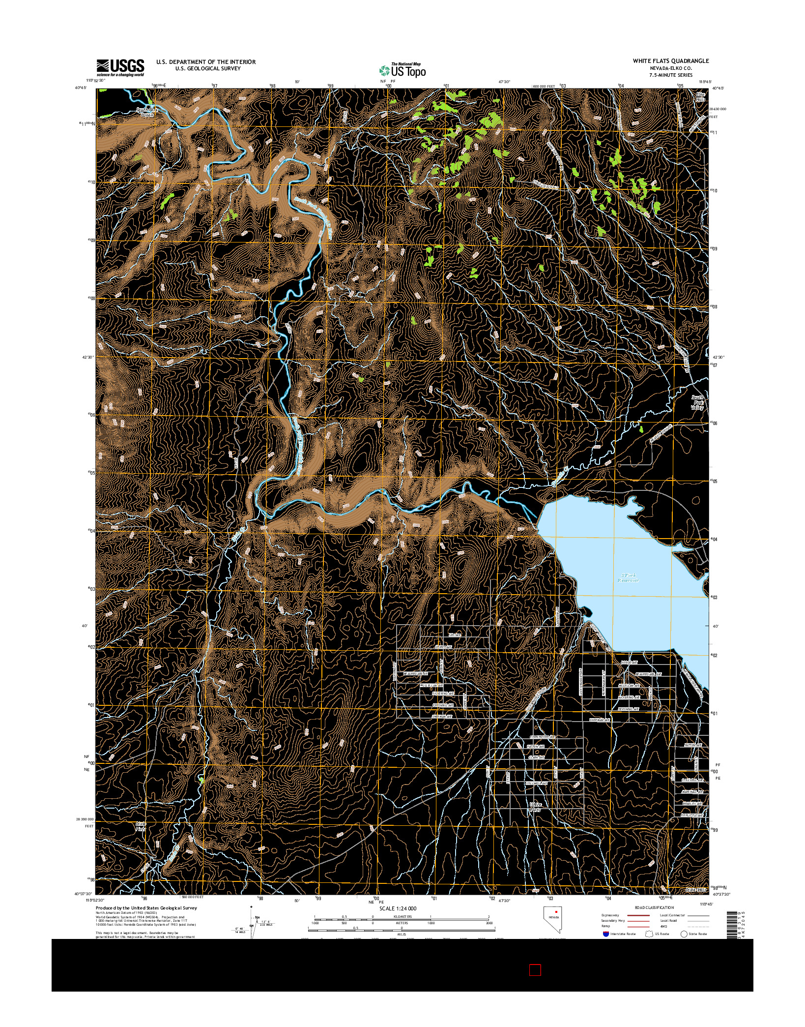 USGS US TOPO 7.5-MINUTE MAP FOR WHITE FLATS, NV 2014
