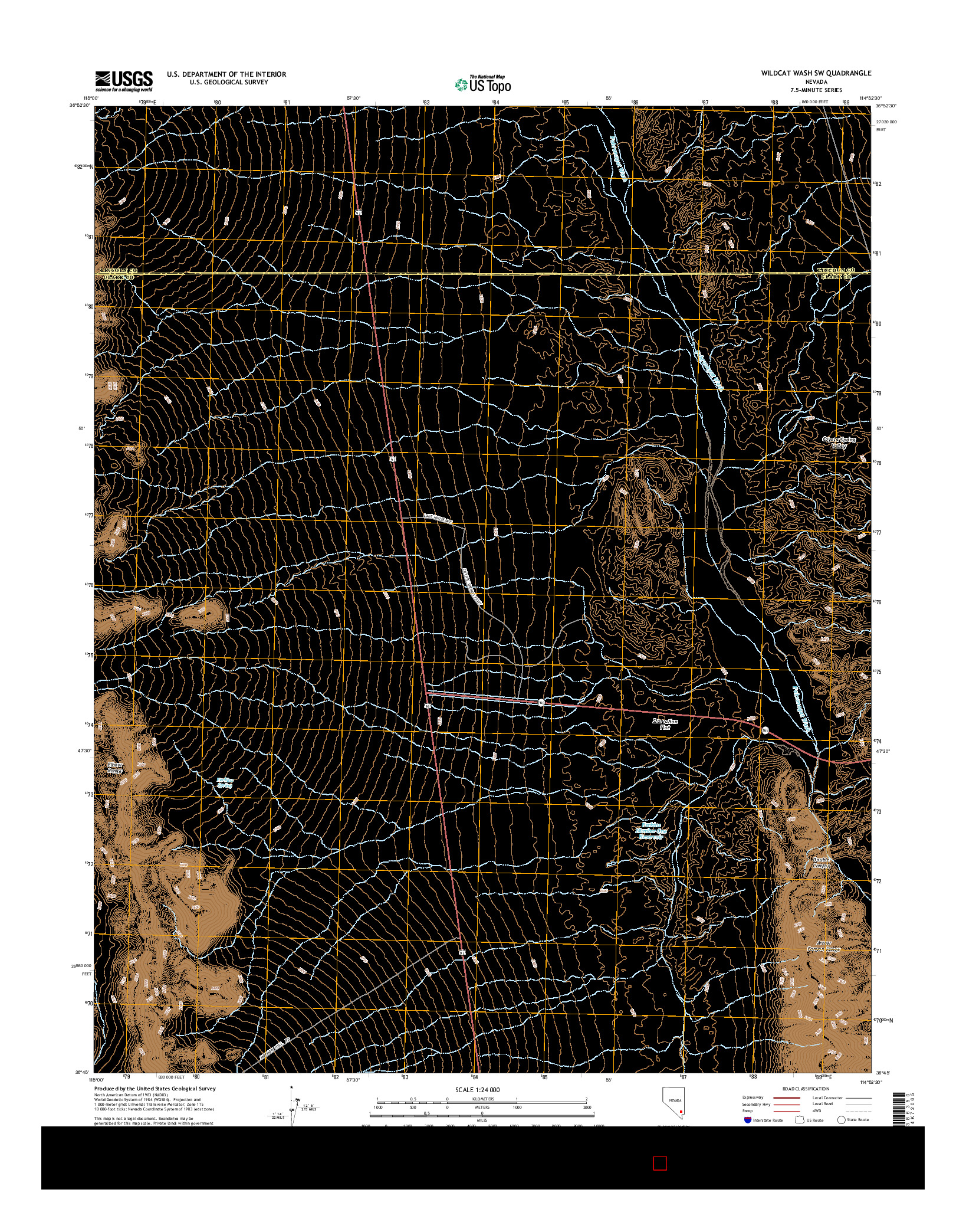 USGS US TOPO 7.5-MINUTE MAP FOR WILDCAT WASH SW, NV 2014