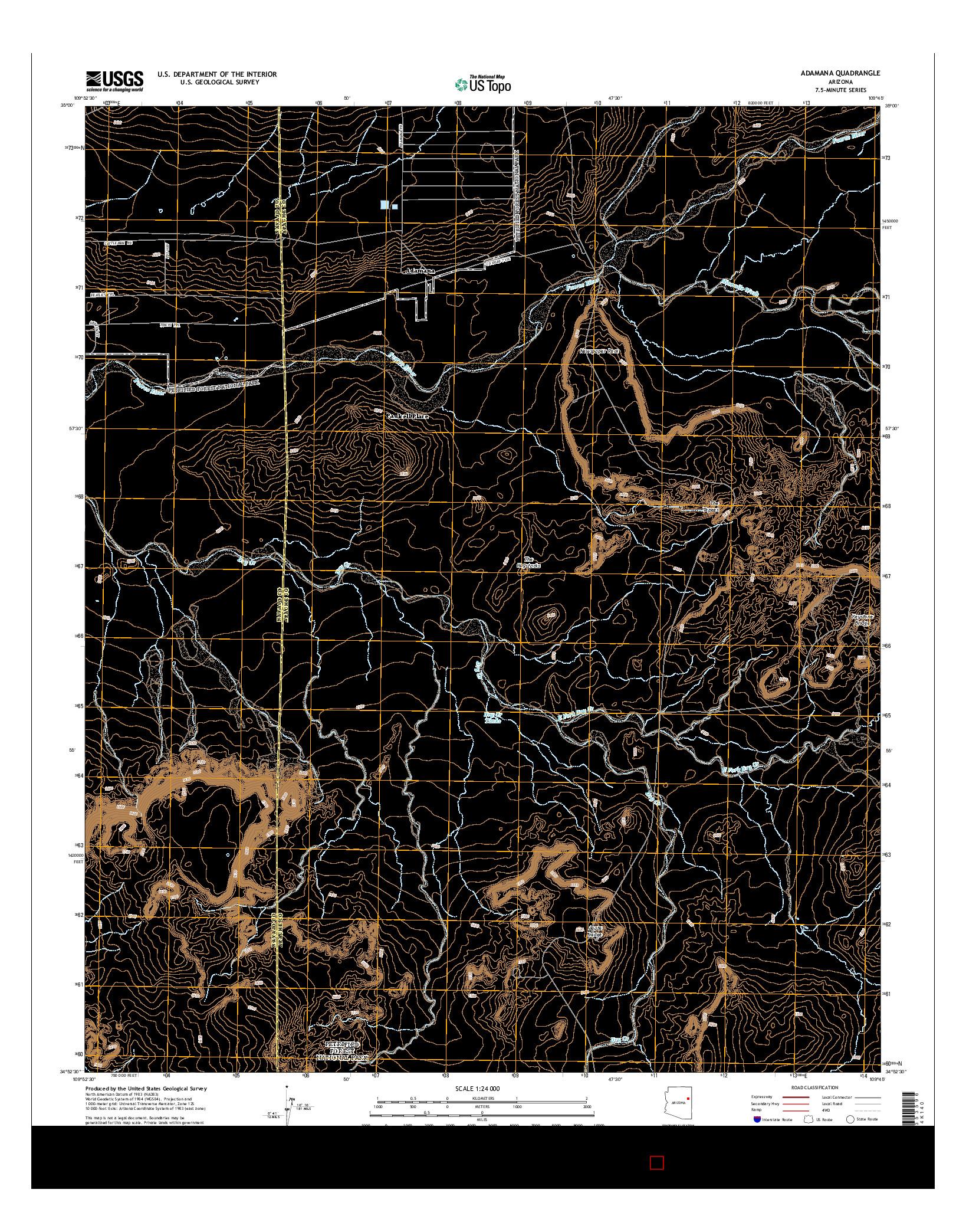 USGS US TOPO 7.5-MINUTE MAP FOR ADAMANA, AZ 2014