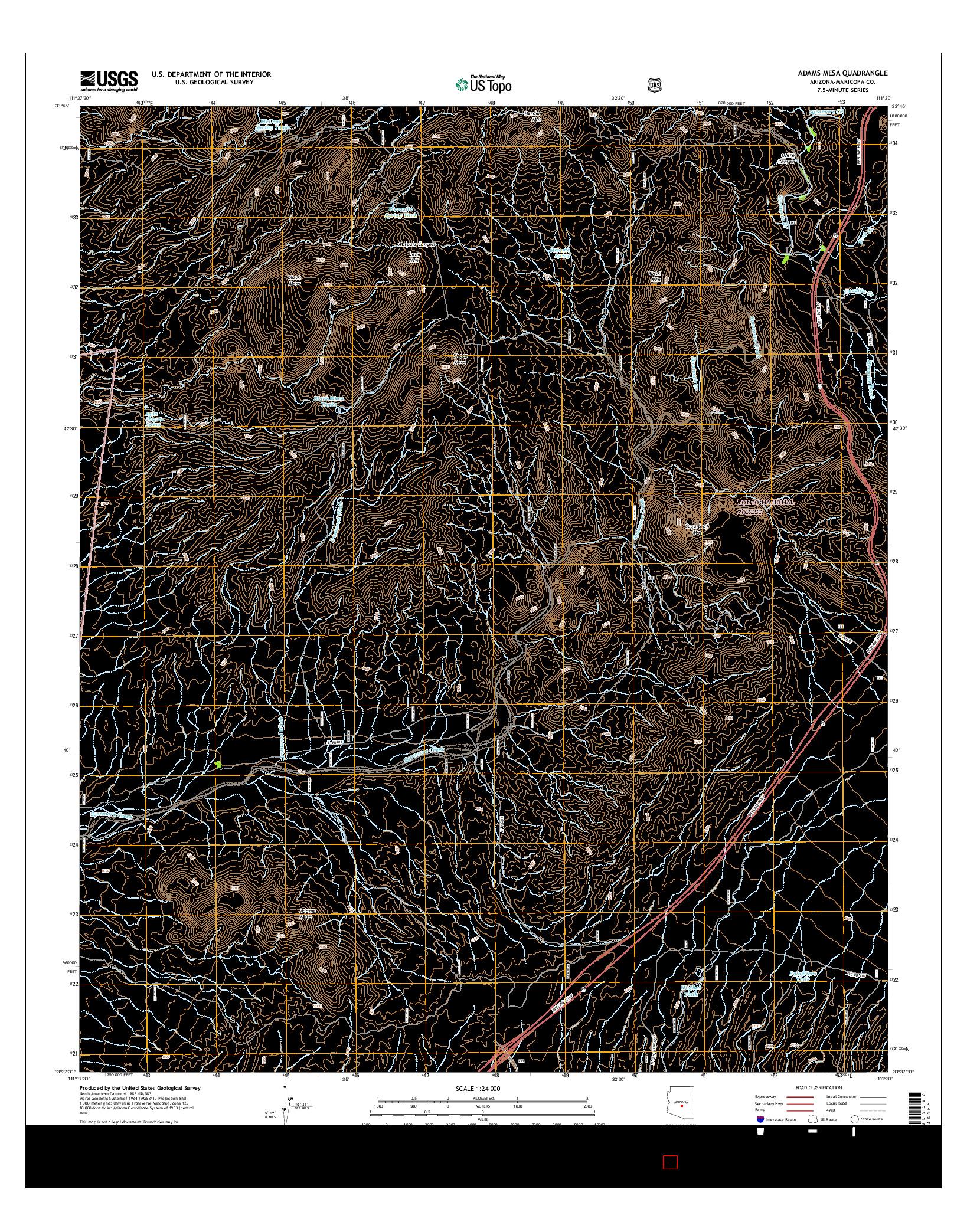 USGS US TOPO 7.5-MINUTE MAP FOR ADAMS MESA, AZ 2014