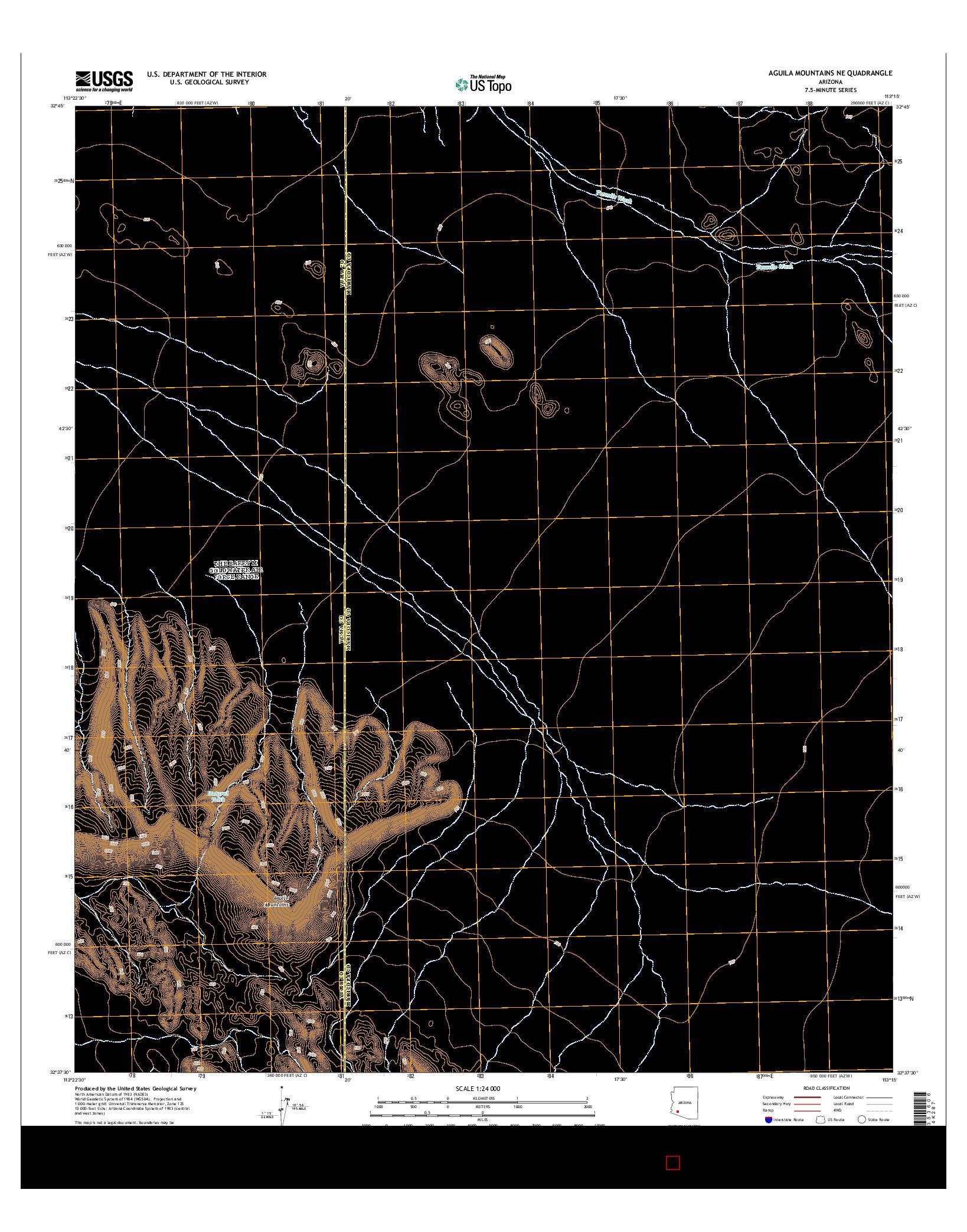 USGS US TOPO 7.5-MINUTE MAP FOR AGUILA MOUNTAINS NE, AZ 2014