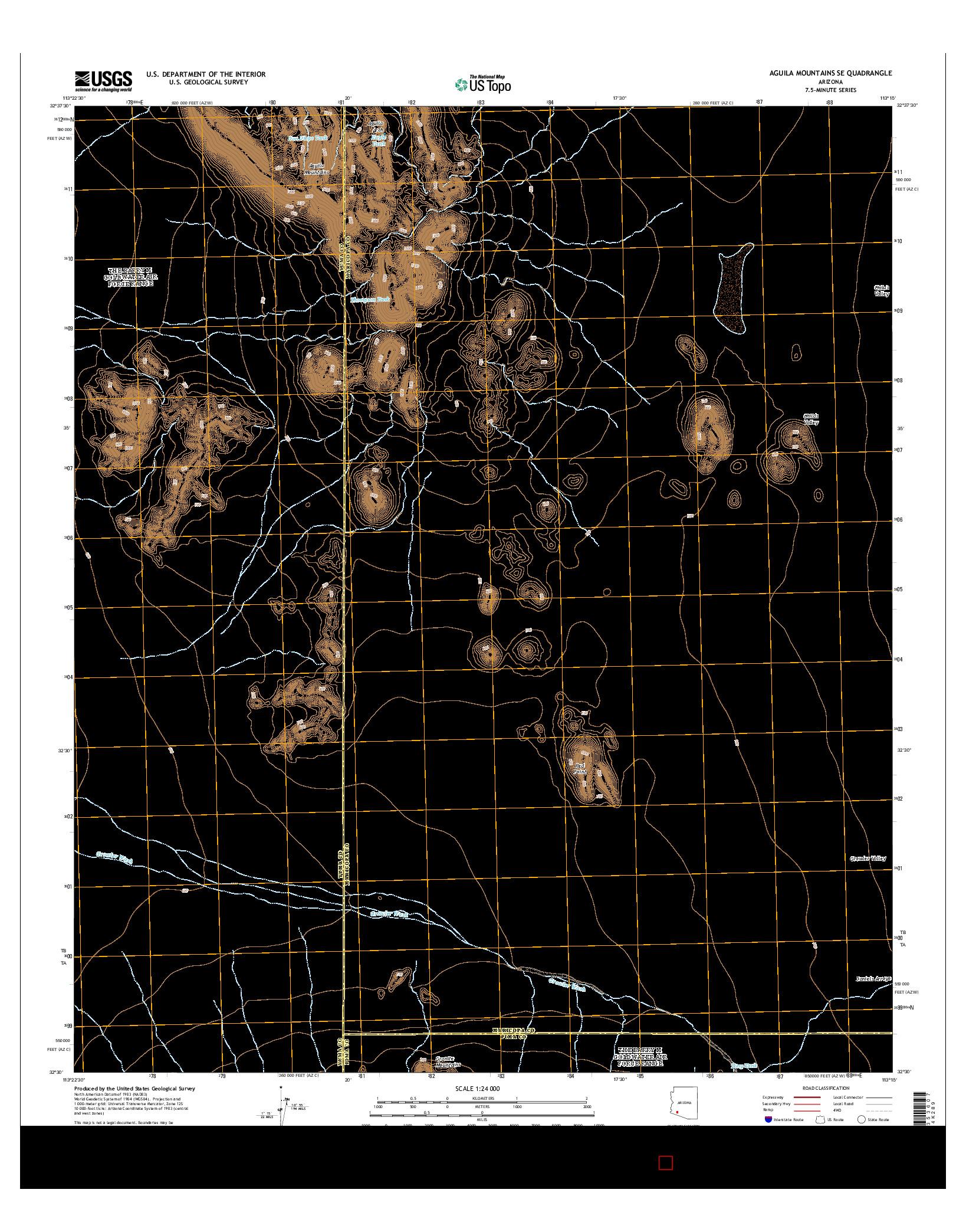 USGS US TOPO 7.5-MINUTE MAP FOR AGUILA MOUNTAINS SE, AZ 2014