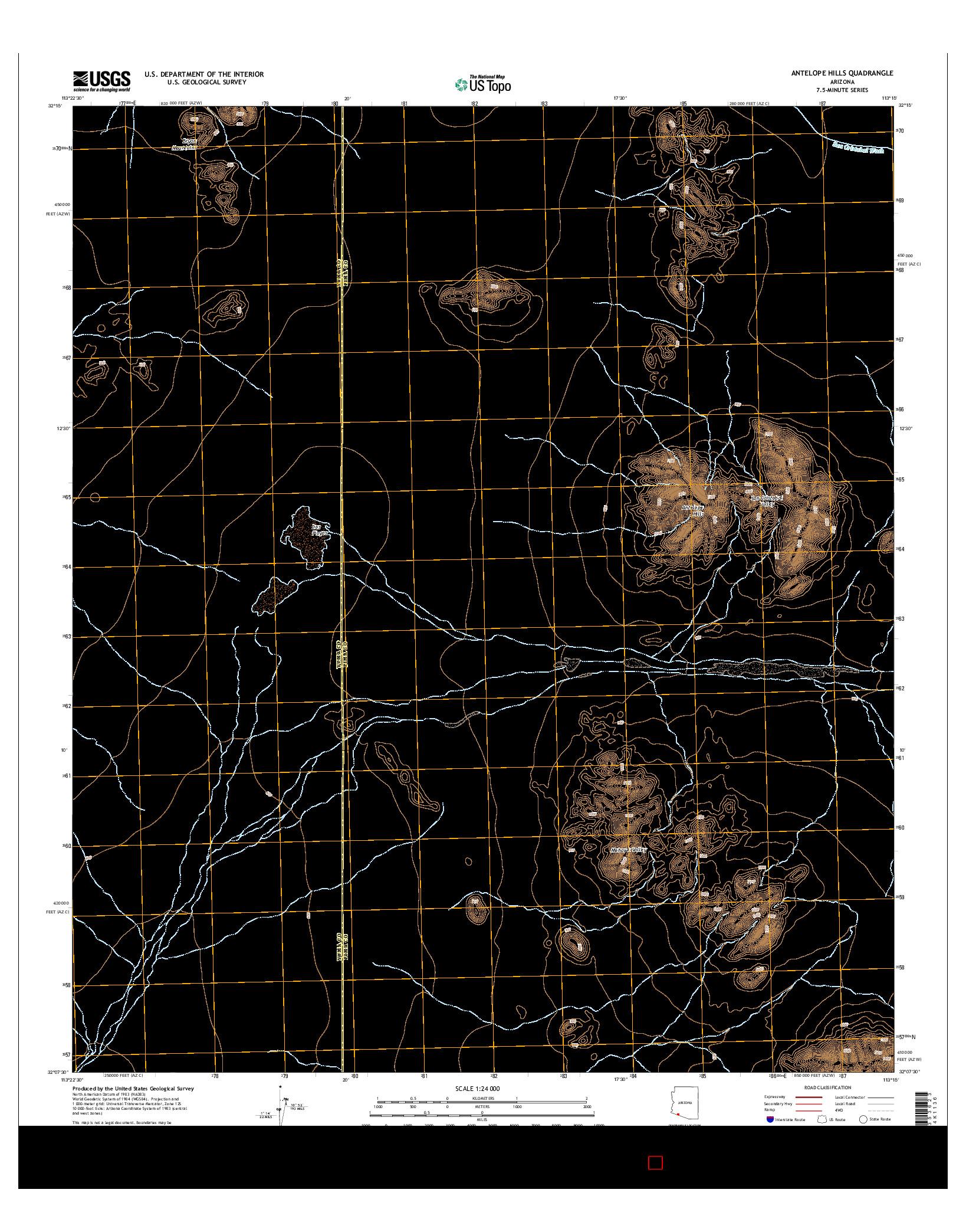 USGS US TOPO 7.5-MINUTE MAP FOR ANTELOPE HILLS, AZ 2014