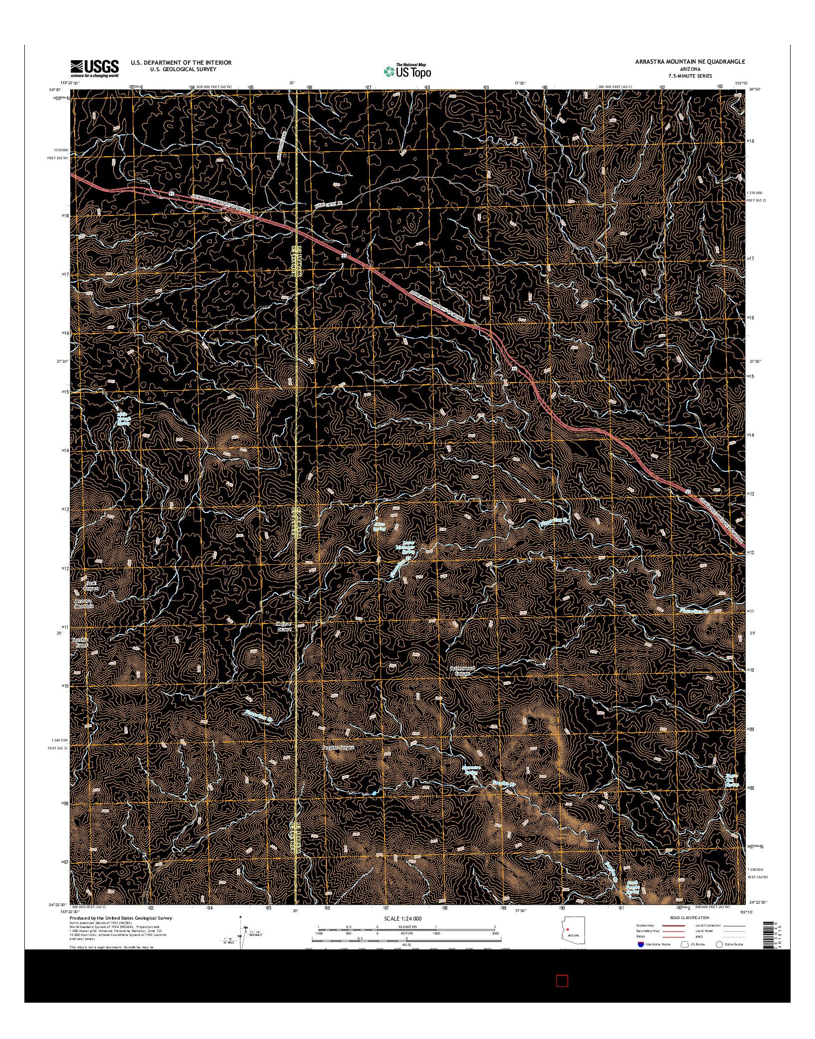 USGS US TOPO 7.5-MINUTE MAP FOR ARRASTRA MOUNTAIN NE, AZ 2014