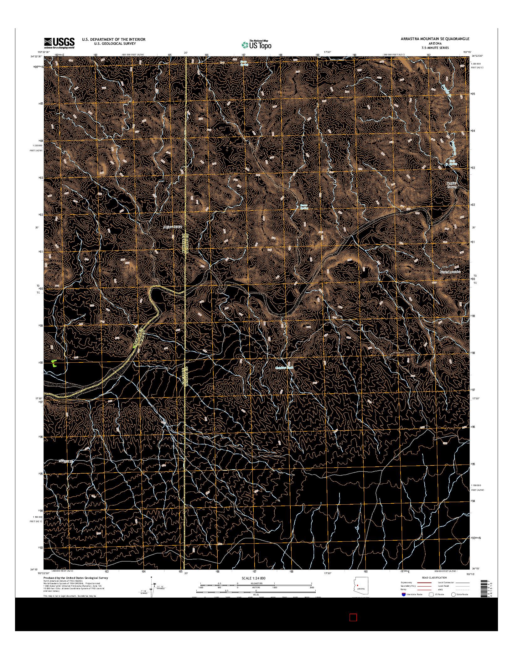 USGS US TOPO 7.5-MINUTE MAP FOR ARRASTRA MOUNTAIN SE, AZ 2014