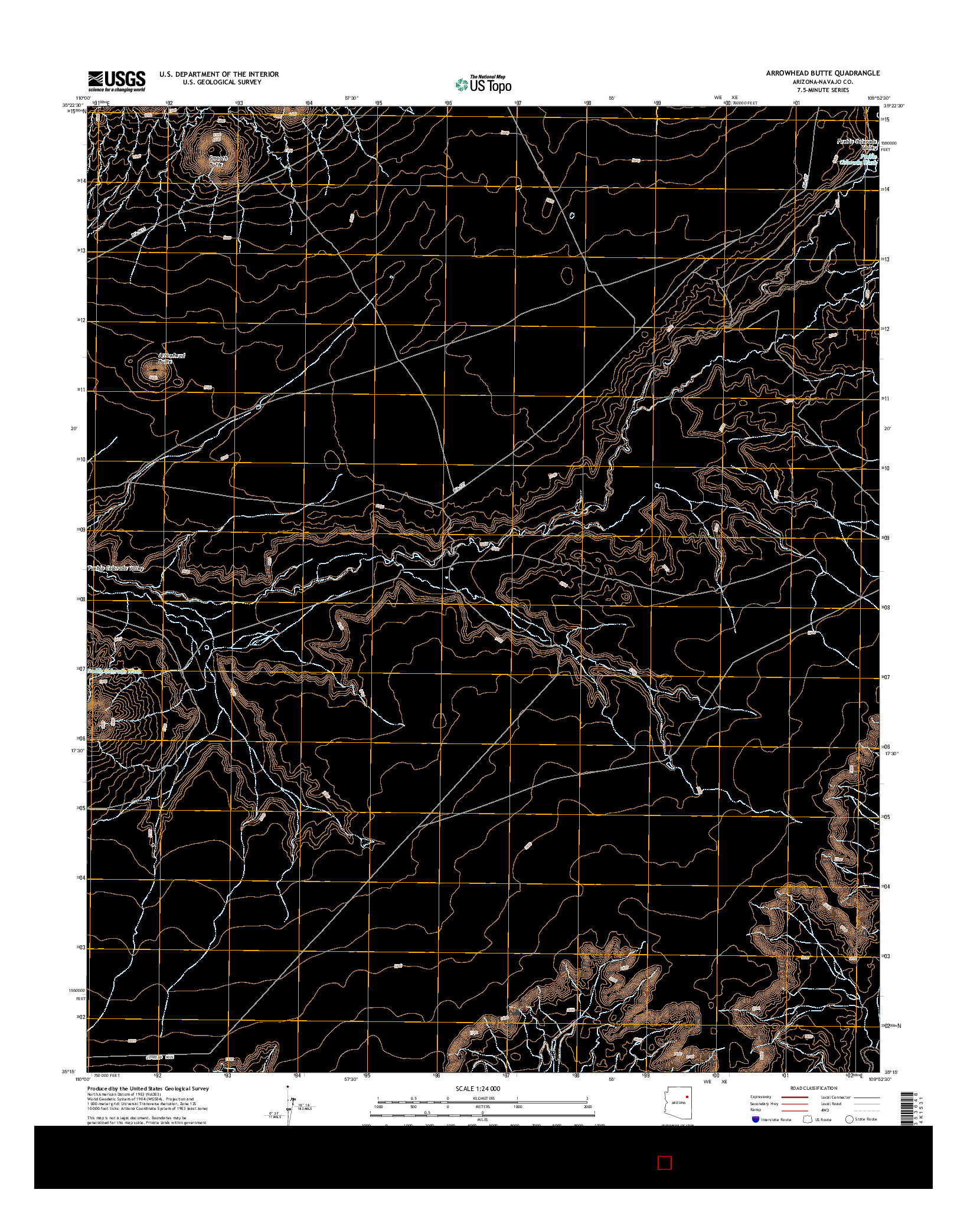 USGS US TOPO 7.5-MINUTE MAP FOR ARROWHEAD BUTTE, AZ 2014
