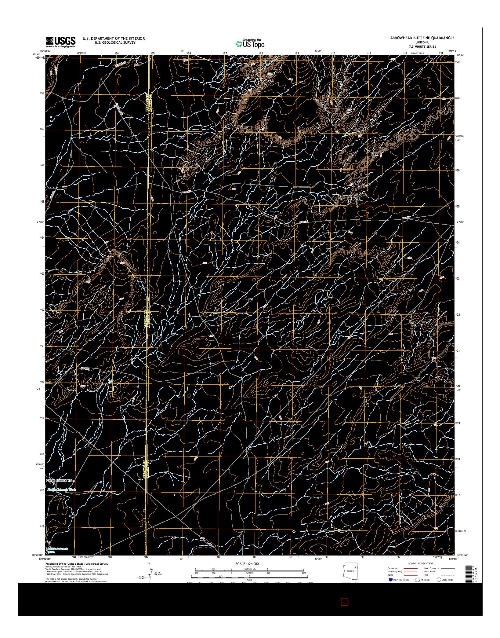 USGS US TOPO 7.5-MINUTE MAP FOR ARROWHEAD BUTTE NE, AZ 2014