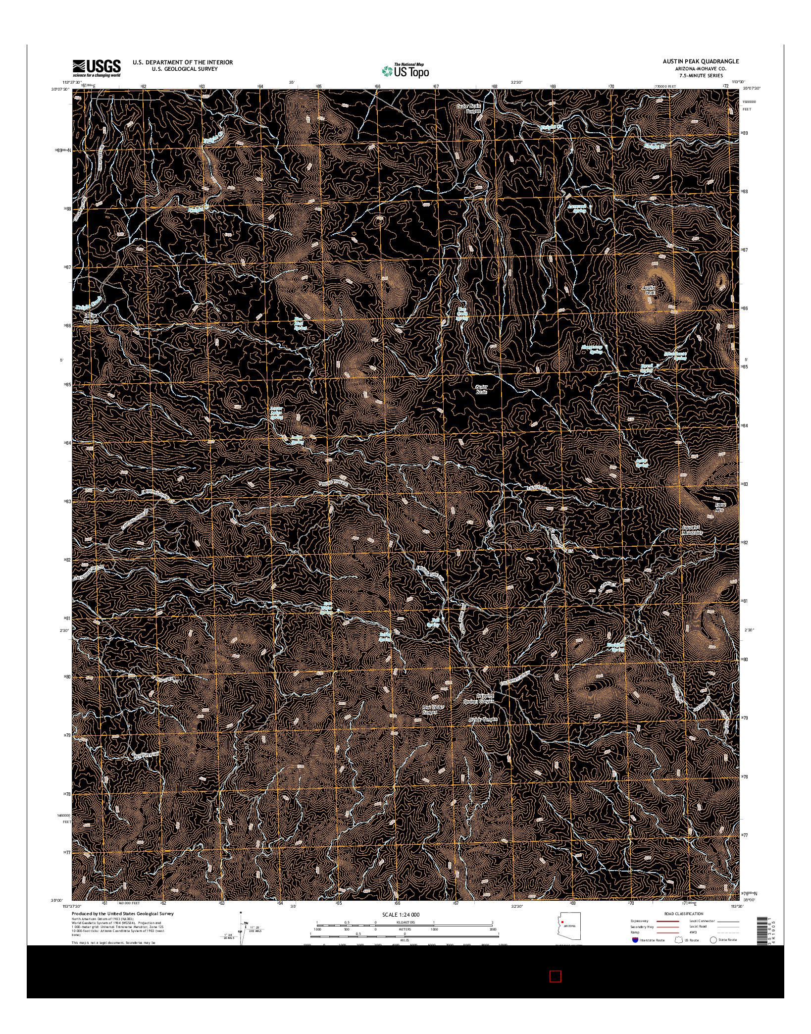 USGS US TOPO 7.5-MINUTE MAP FOR AUSTIN PEAK, AZ 2014
