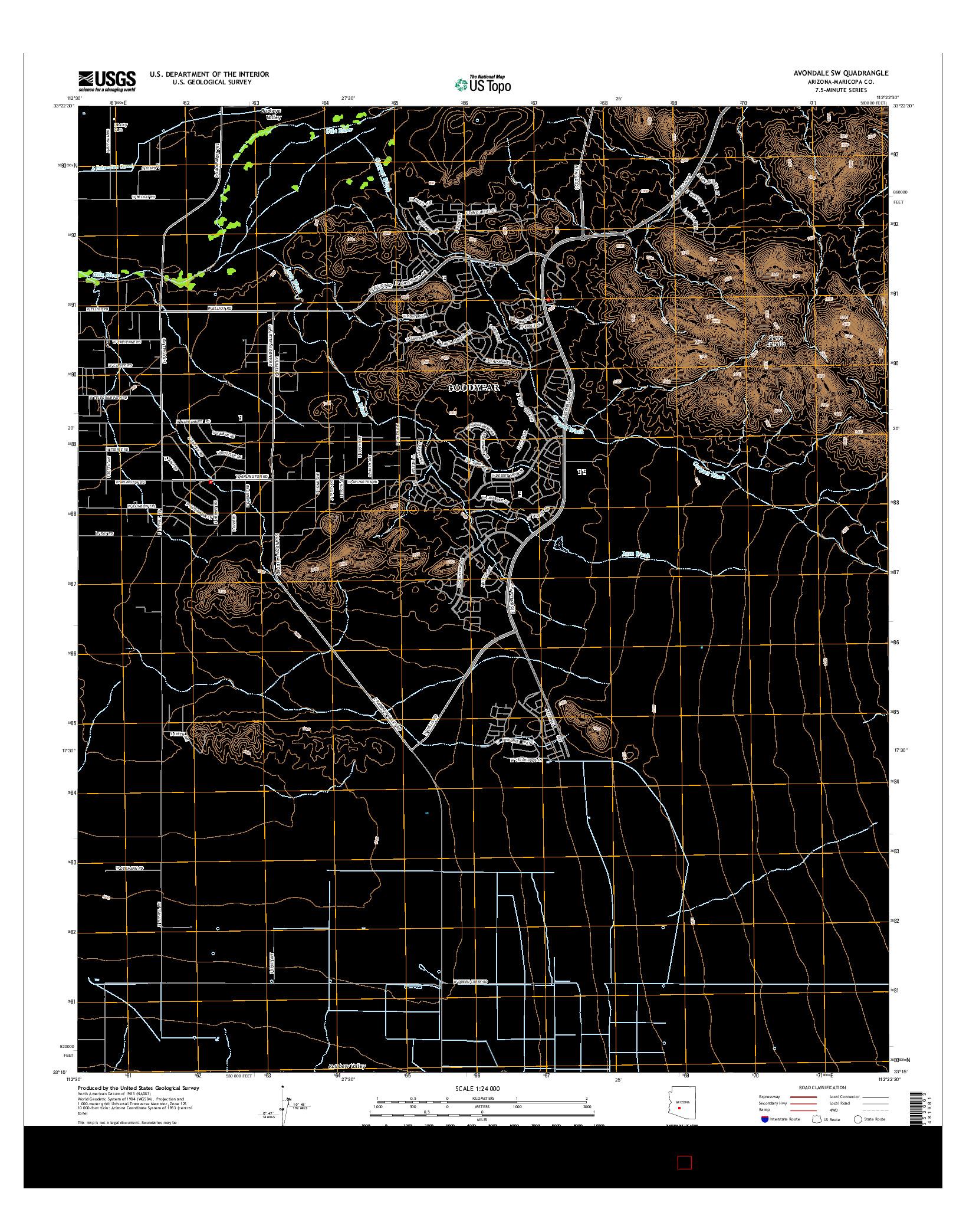 USGS US TOPO 7.5-MINUTE MAP FOR AVONDALE SW, AZ 2014