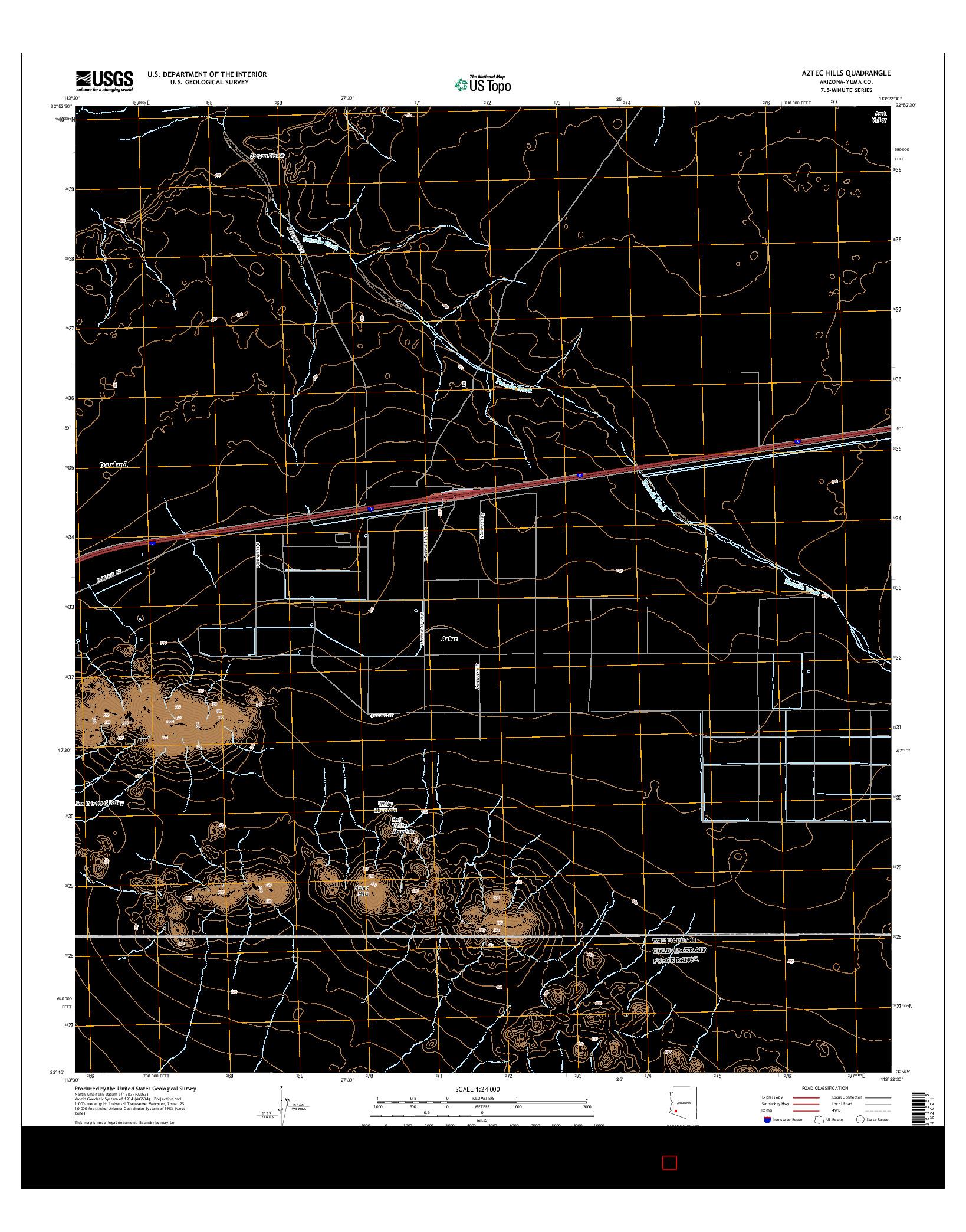 USGS US TOPO 7.5-MINUTE MAP FOR AZTEC HILLS, AZ 2014