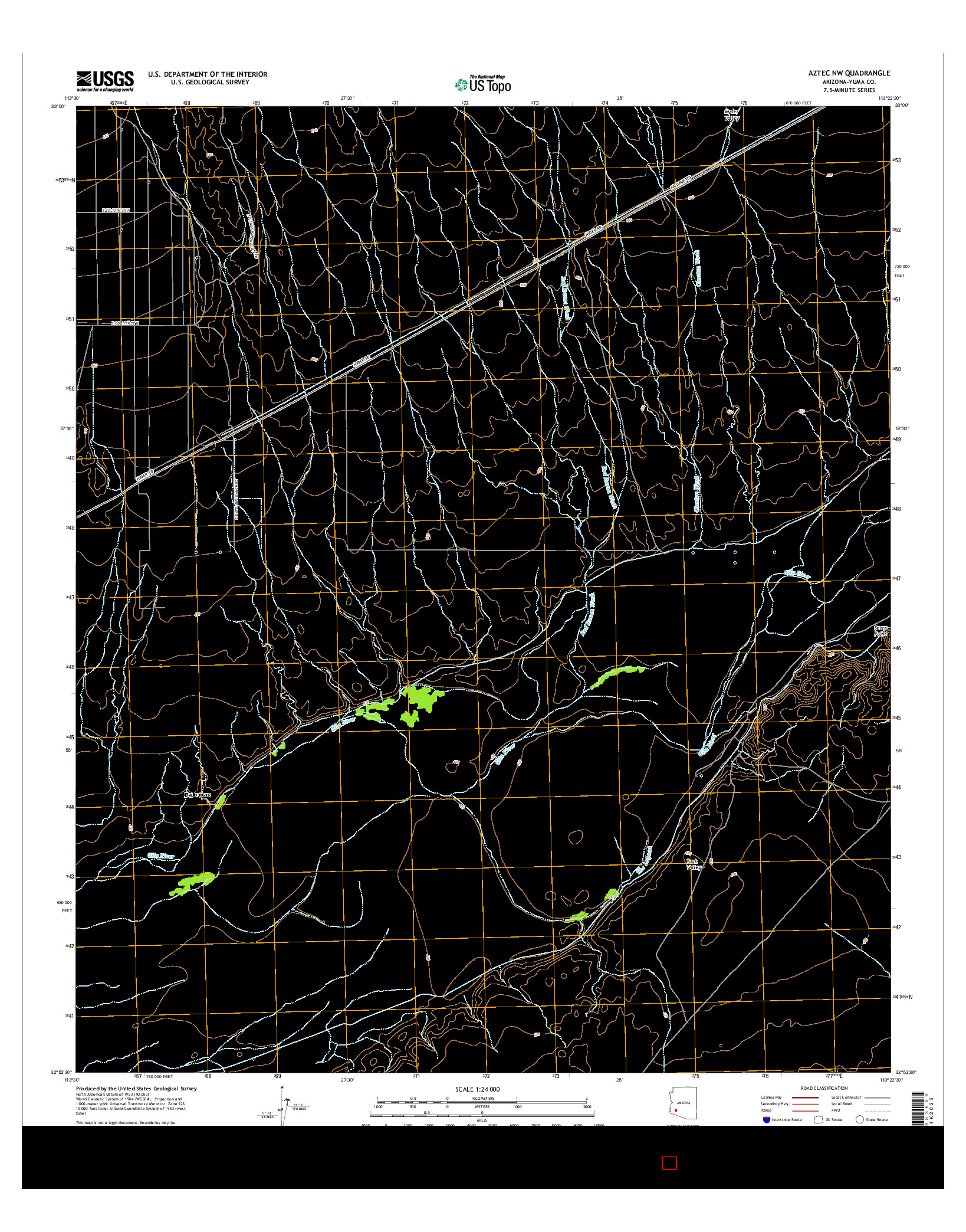 USGS US TOPO 7.5-MINUTE MAP FOR AZTEC NW, AZ 2014