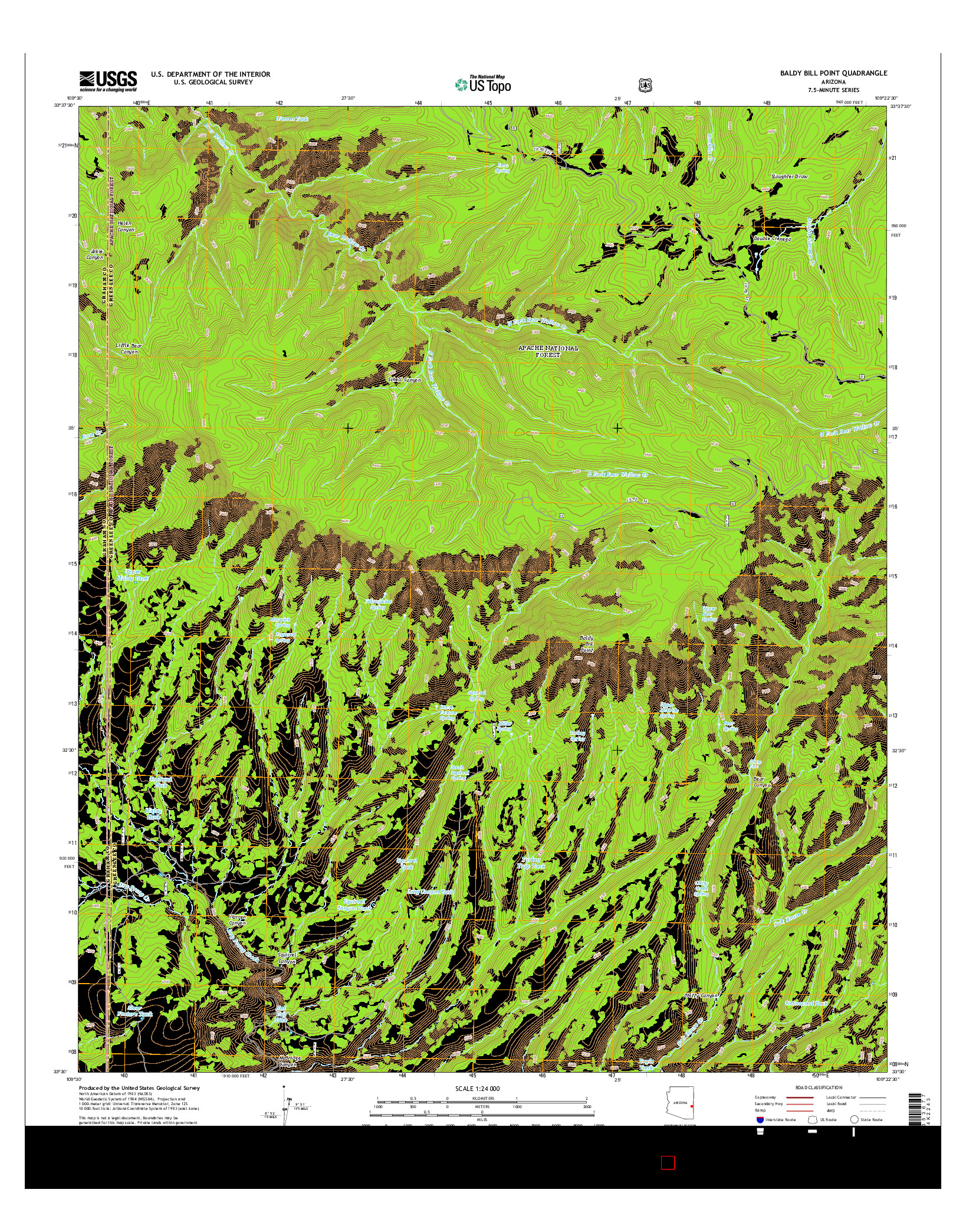 USGS US TOPO 7.5-MINUTE MAP FOR BALDY BILL POINT, AZ 2014