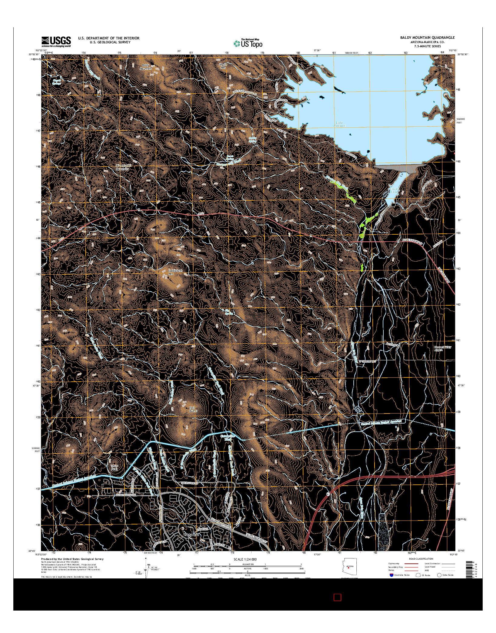 USGS US TOPO 7.5-MINUTE MAP FOR BALDY MOUNTAIN, AZ 2014