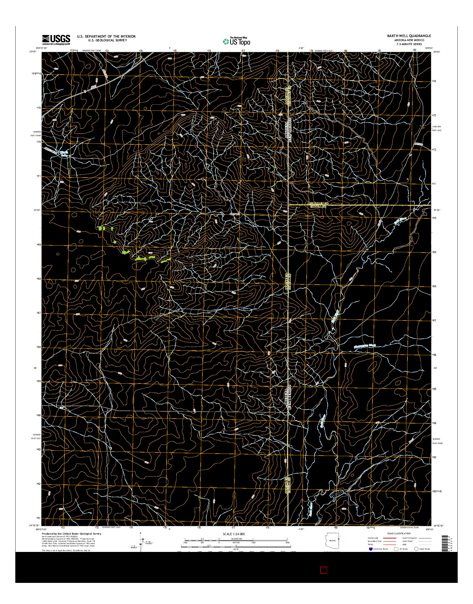 USGS US TOPO 7.5-MINUTE MAP FOR BARTH WELL, AZ-NM 2014