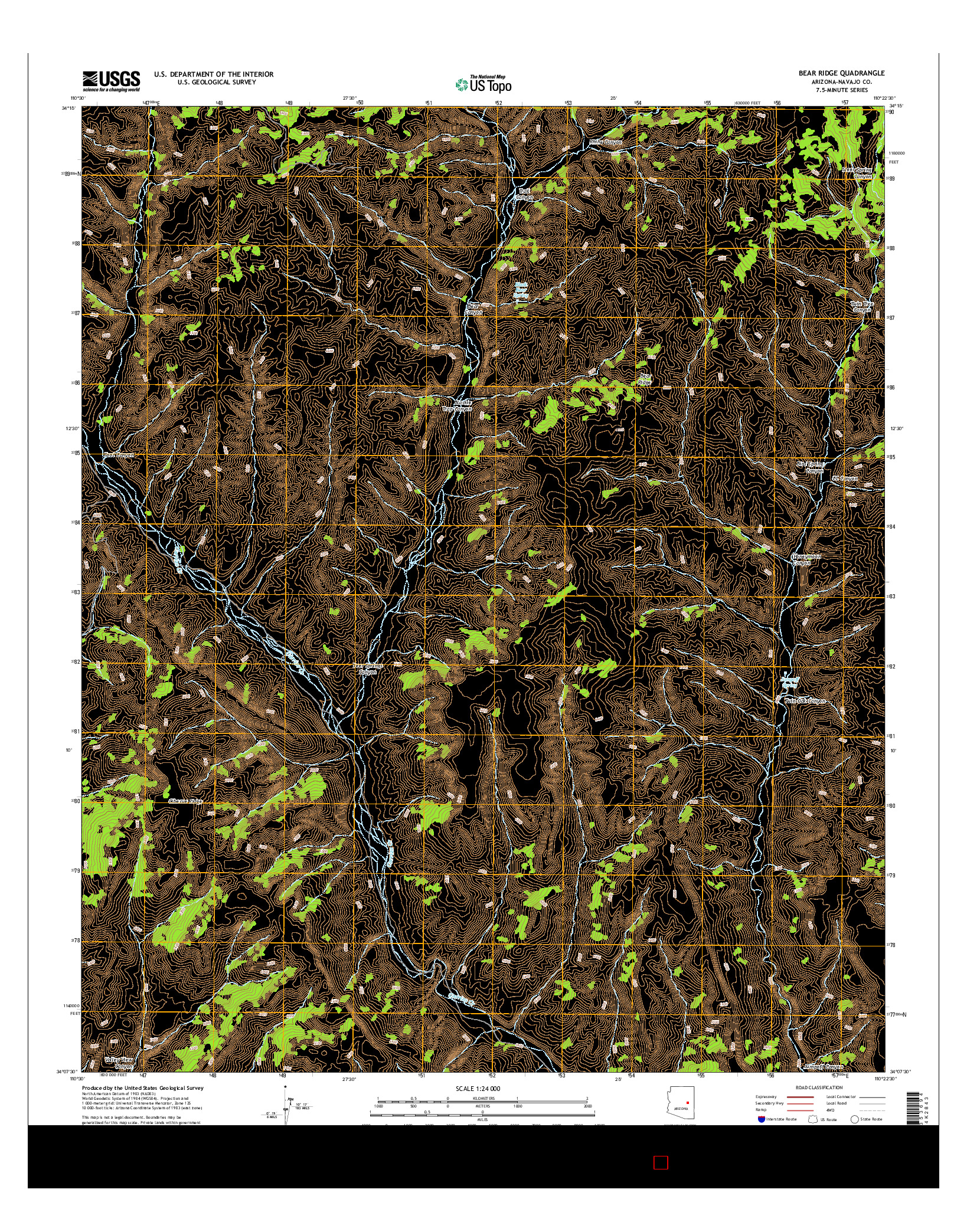 USGS US TOPO 7.5-MINUTE MAP FOR BEAR RIDGE, AZ 2014