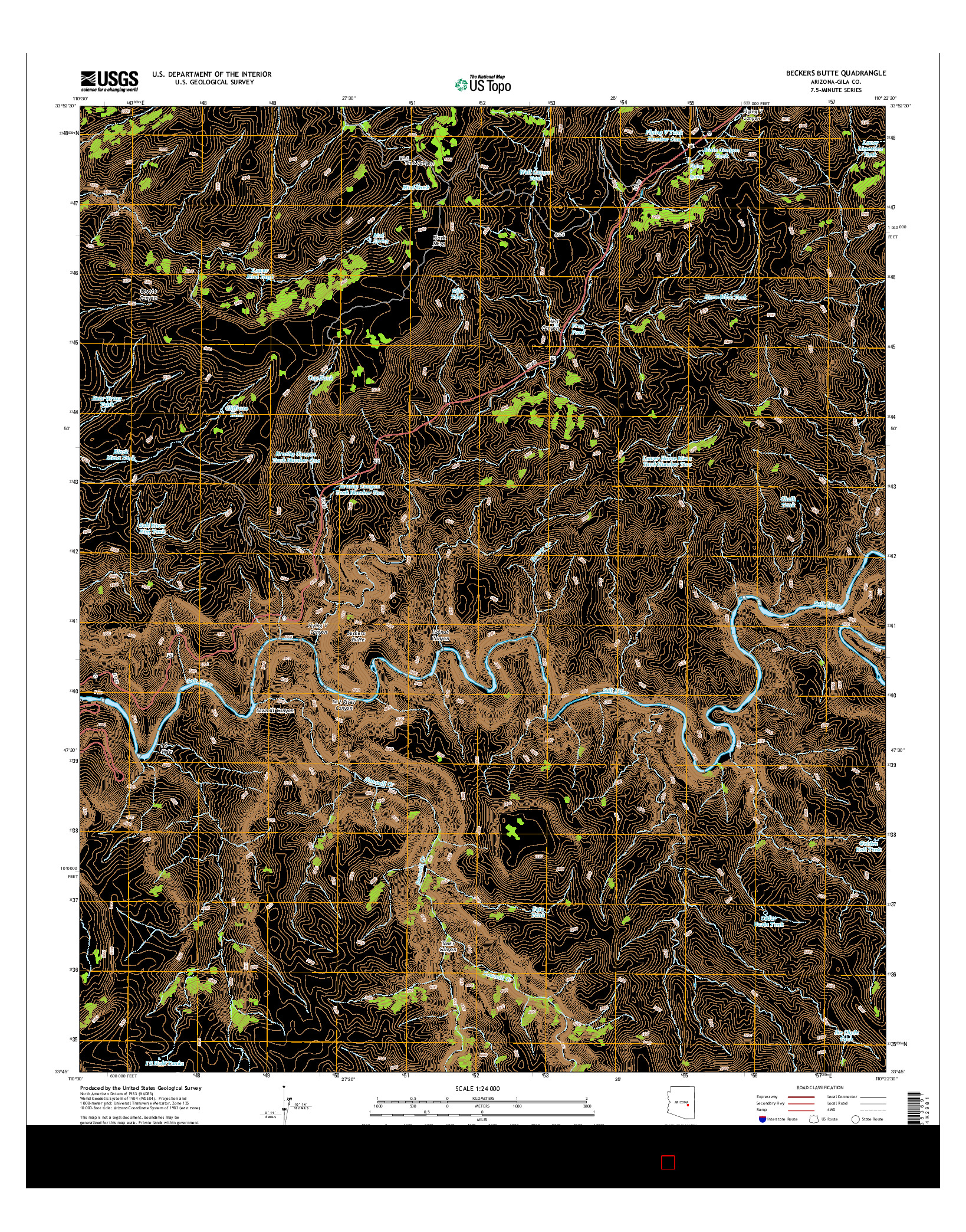 USGS US TOPO 7.5-MINUTE MAP FOR BECKERS BUTTE, AZ 2014