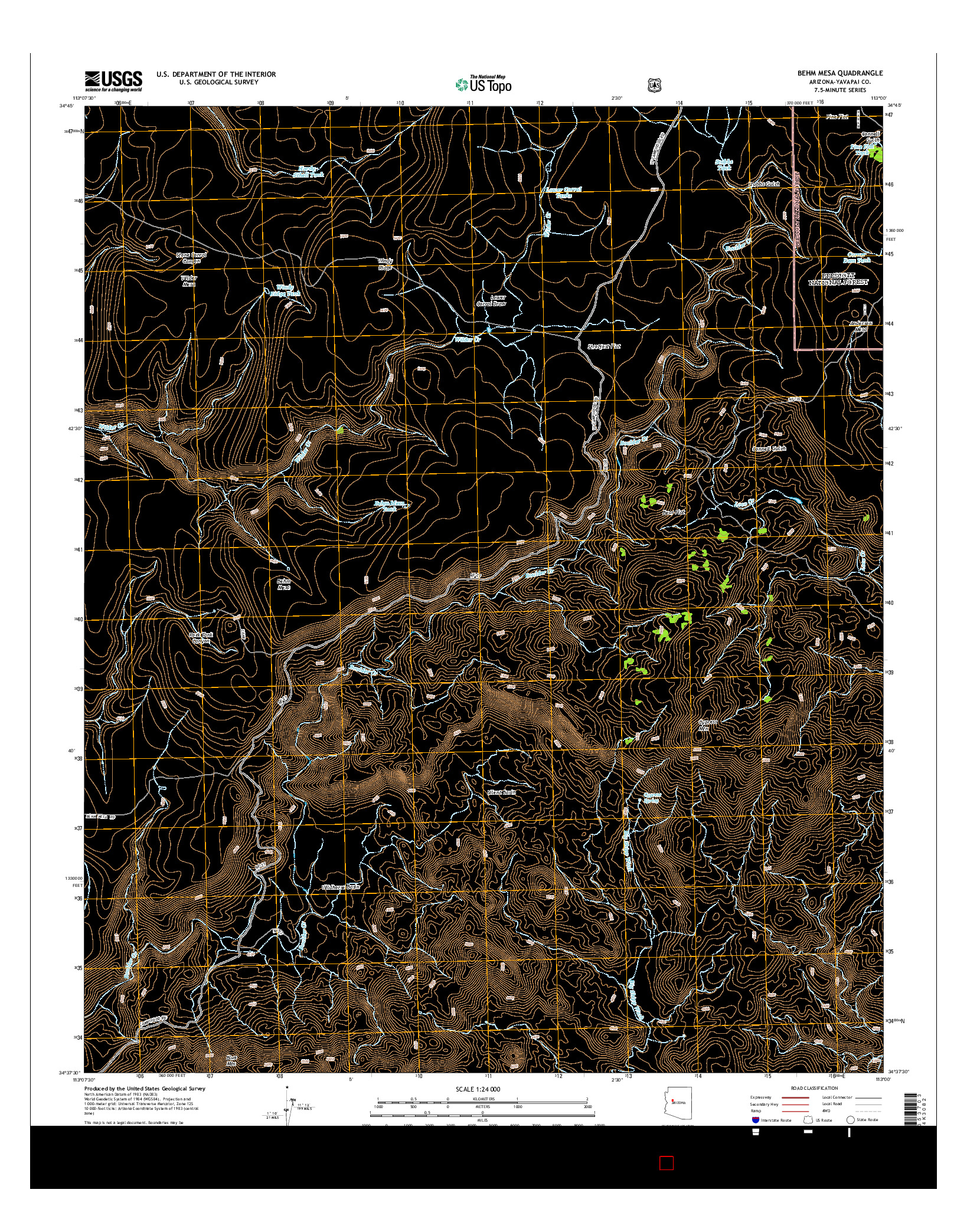 USGS US TOPO 7.5-MINUTE MAP FOR BEHM MESA, AZ 2014