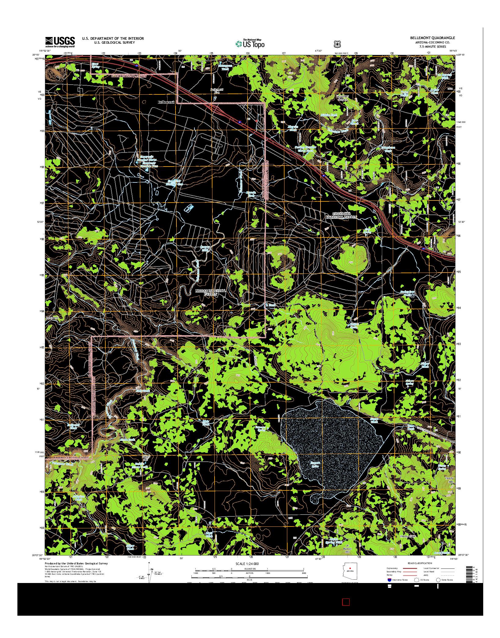 USGS US TOPO 7.5-MINUTE MAP FOR BELLEMONT, AZ 2014