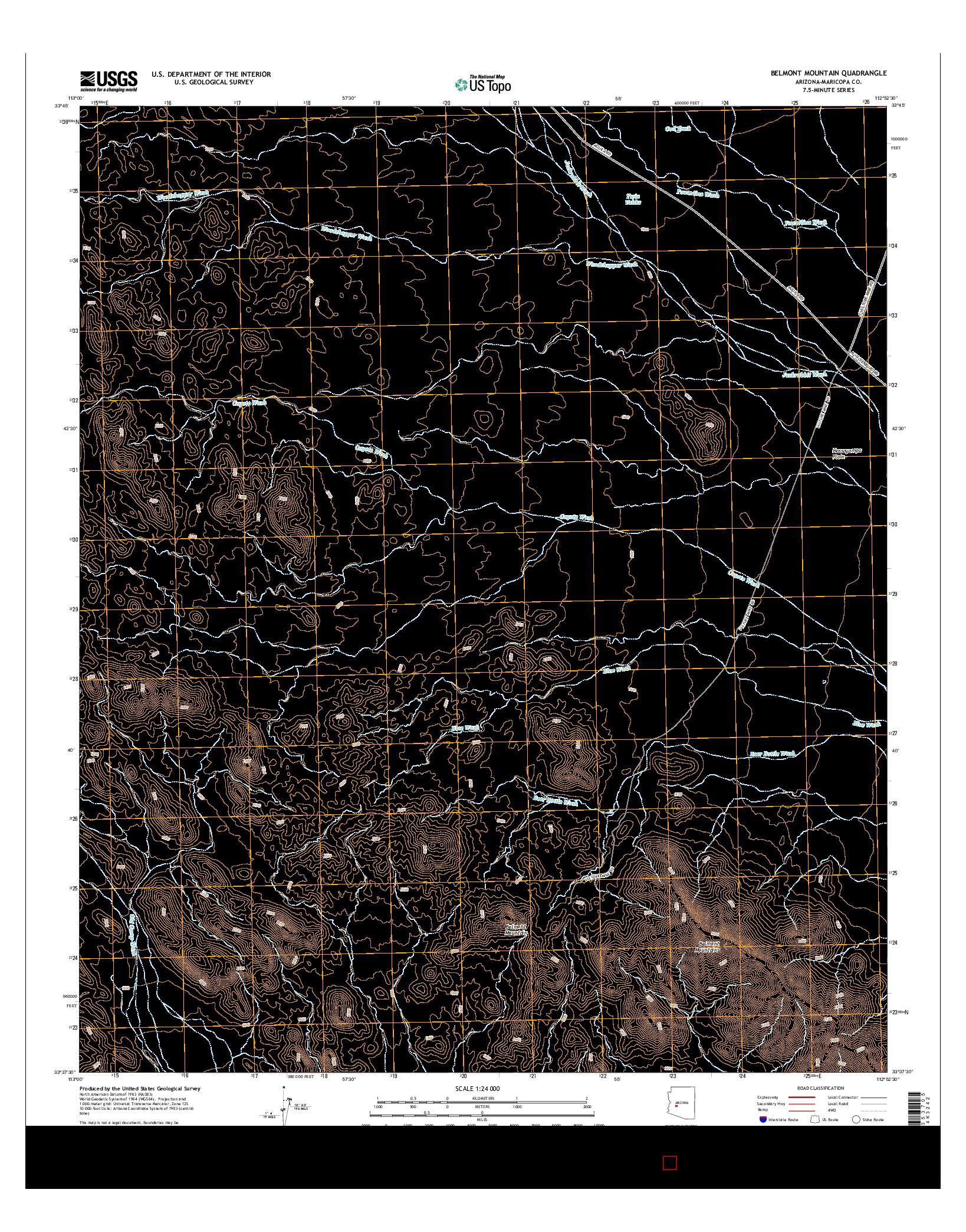 USGS US TOPO 7.5-MINUTE MAP FOR BELMONT MOUNTAIN, AZ 2014