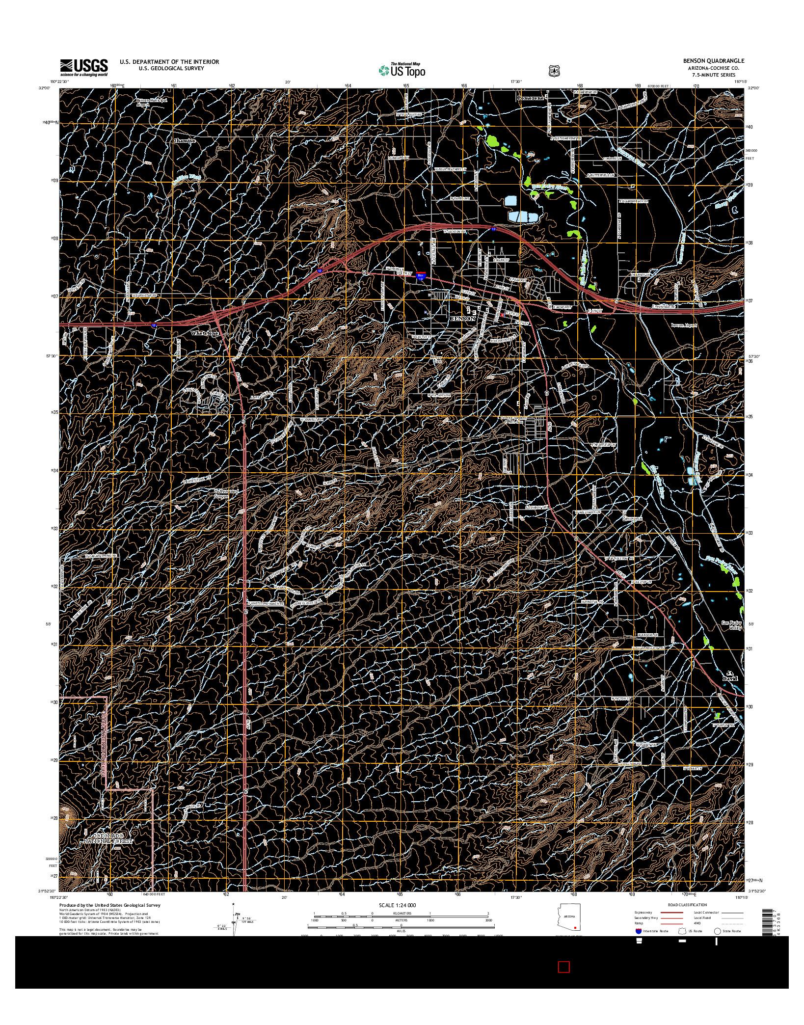 USGS US TOPO 7.5-MINUTE MAP FOR BENSON, AZ 2014