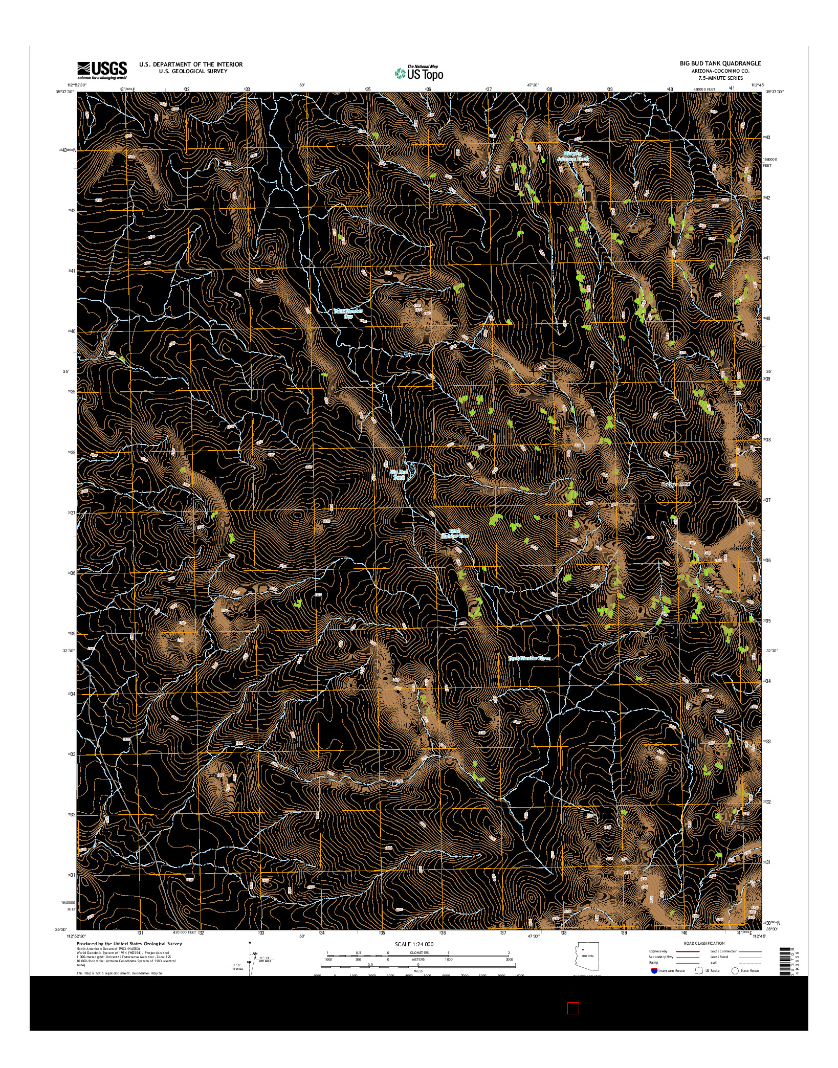 USGS US TOPO 7.5-MINUTE MAP FOR BIG BUD TANK, AZ 2014