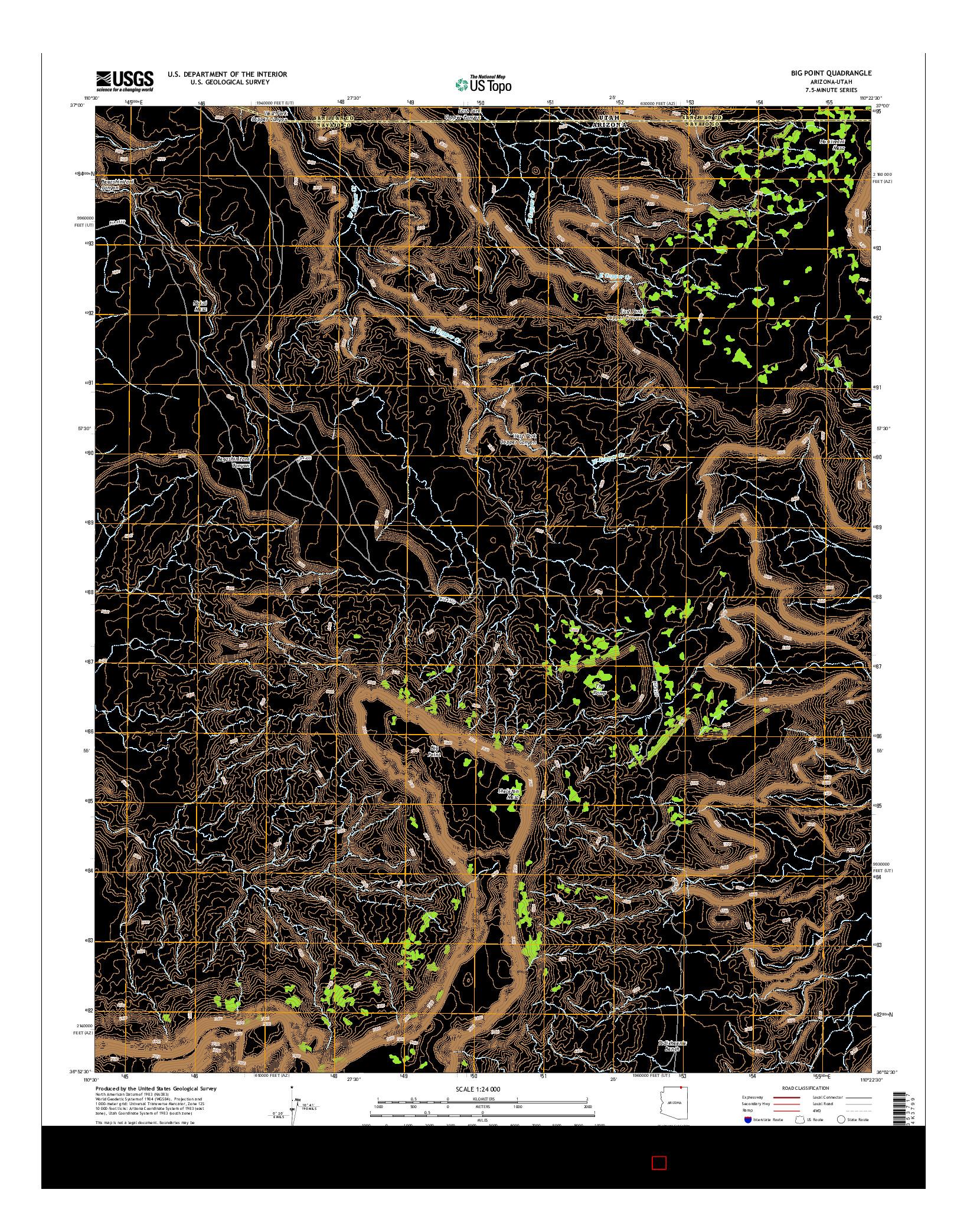 USGS US TOPO 7.5-MINUTE MAP FOR BIG POINT, AZ-UT 2014