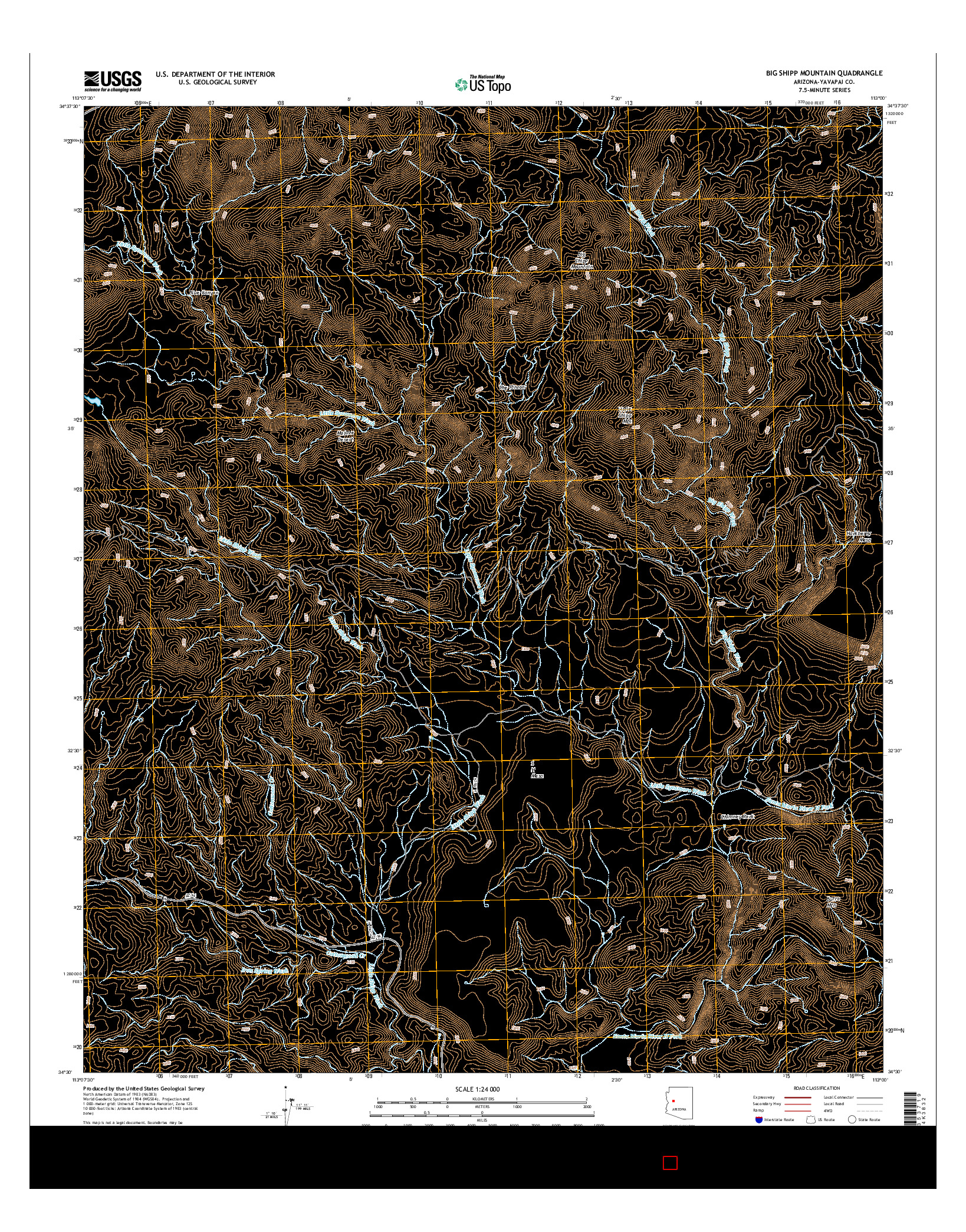 USGS US TOPO 7.5-MINUTE MAP FOR BIG SHIPP MOUNTAIN, AZ 2014