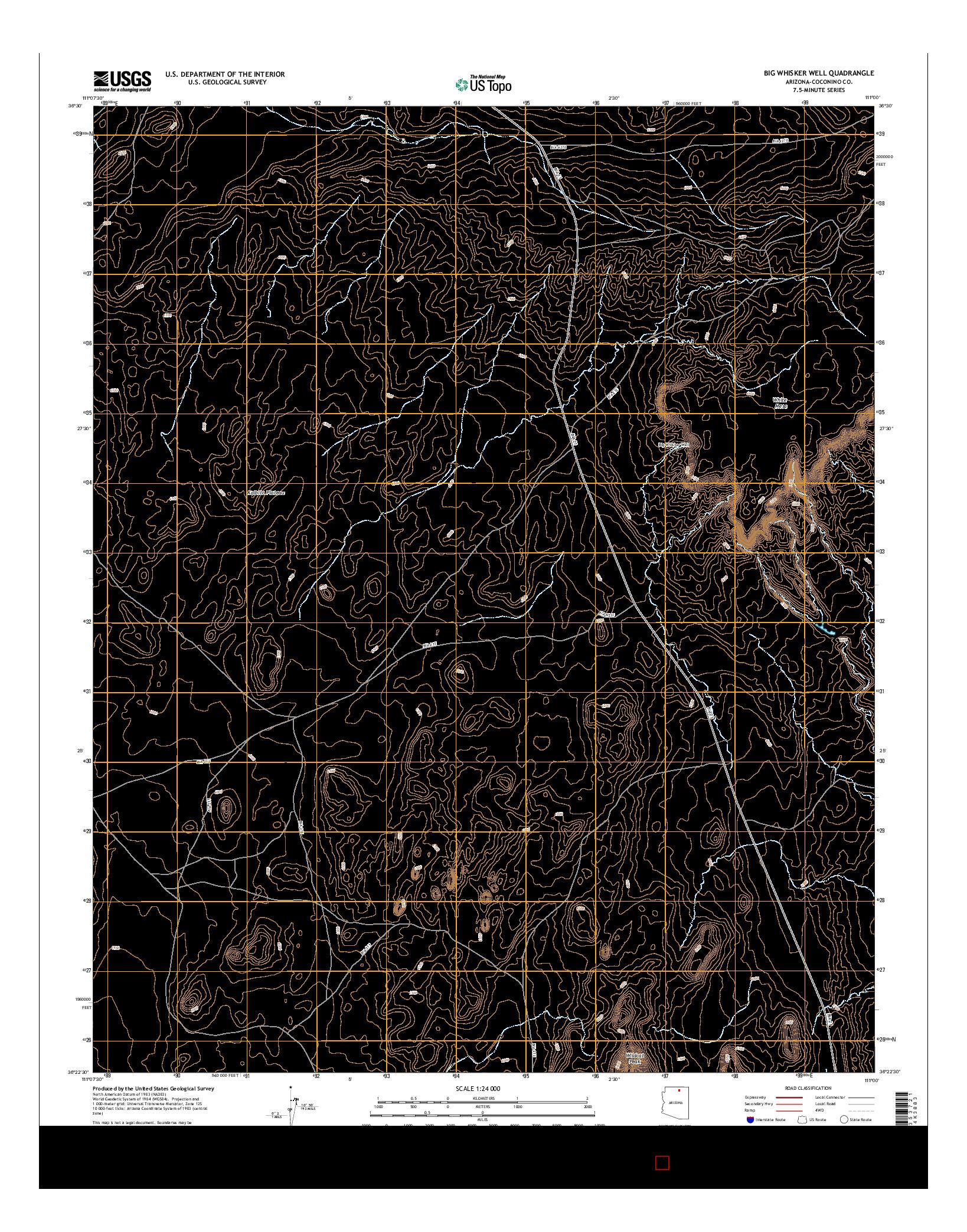 USGS US TOPO 7.5-MINUTE MAP FOR BIG WHISKER WELL, AZ 2014