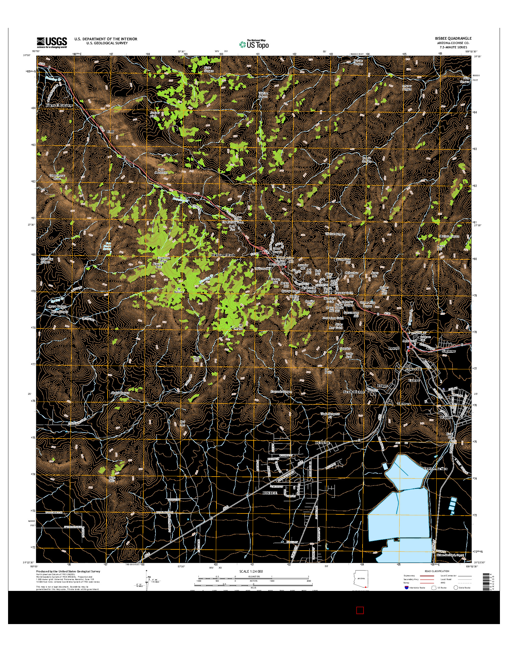 USGS US TOPO 7.5-MINUTE MAP FOR BISBEE, AZ 2014