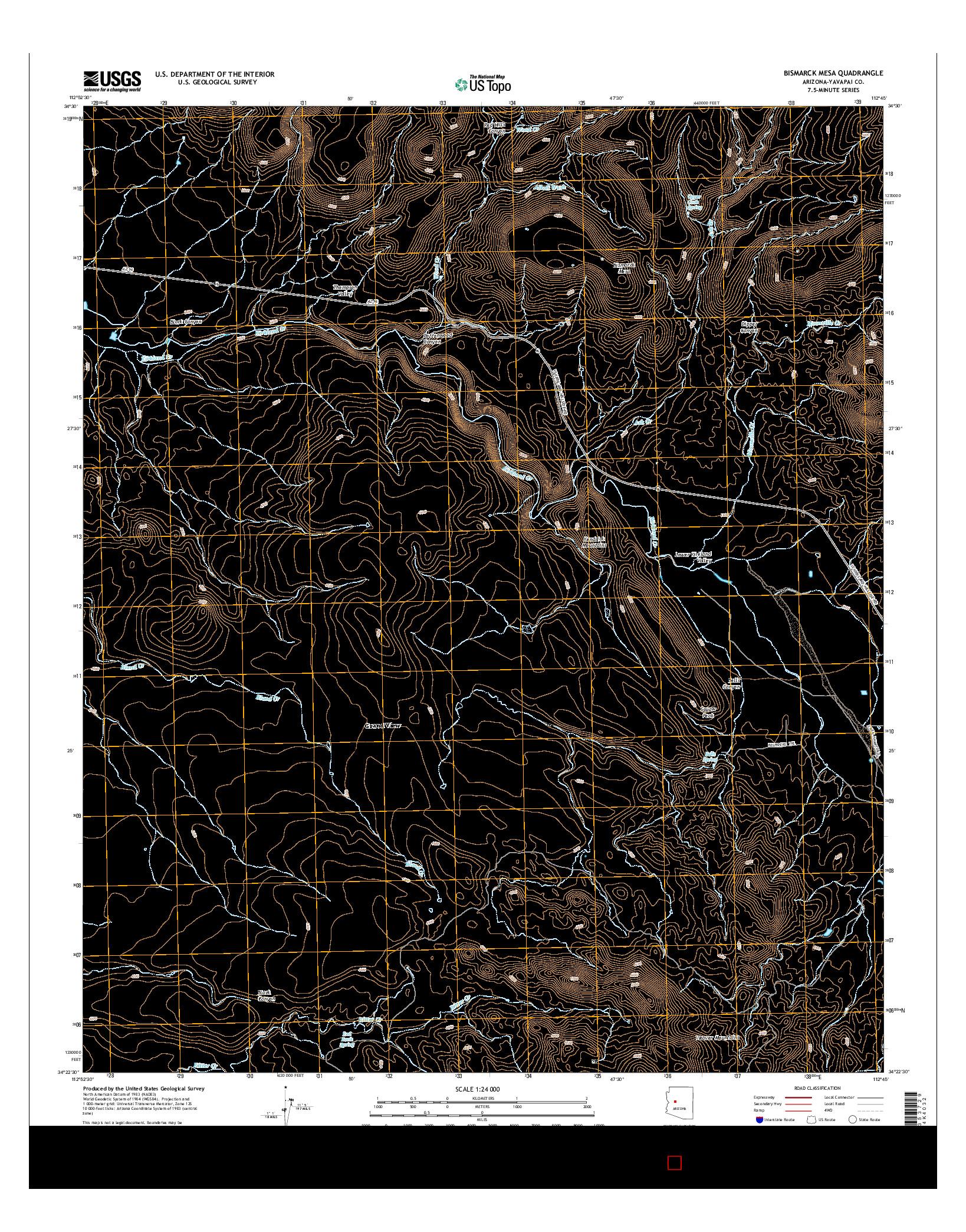 USGS US TOPO 7.5-MINUTE MAP FOR BISMARCK MESA, AZ 2014