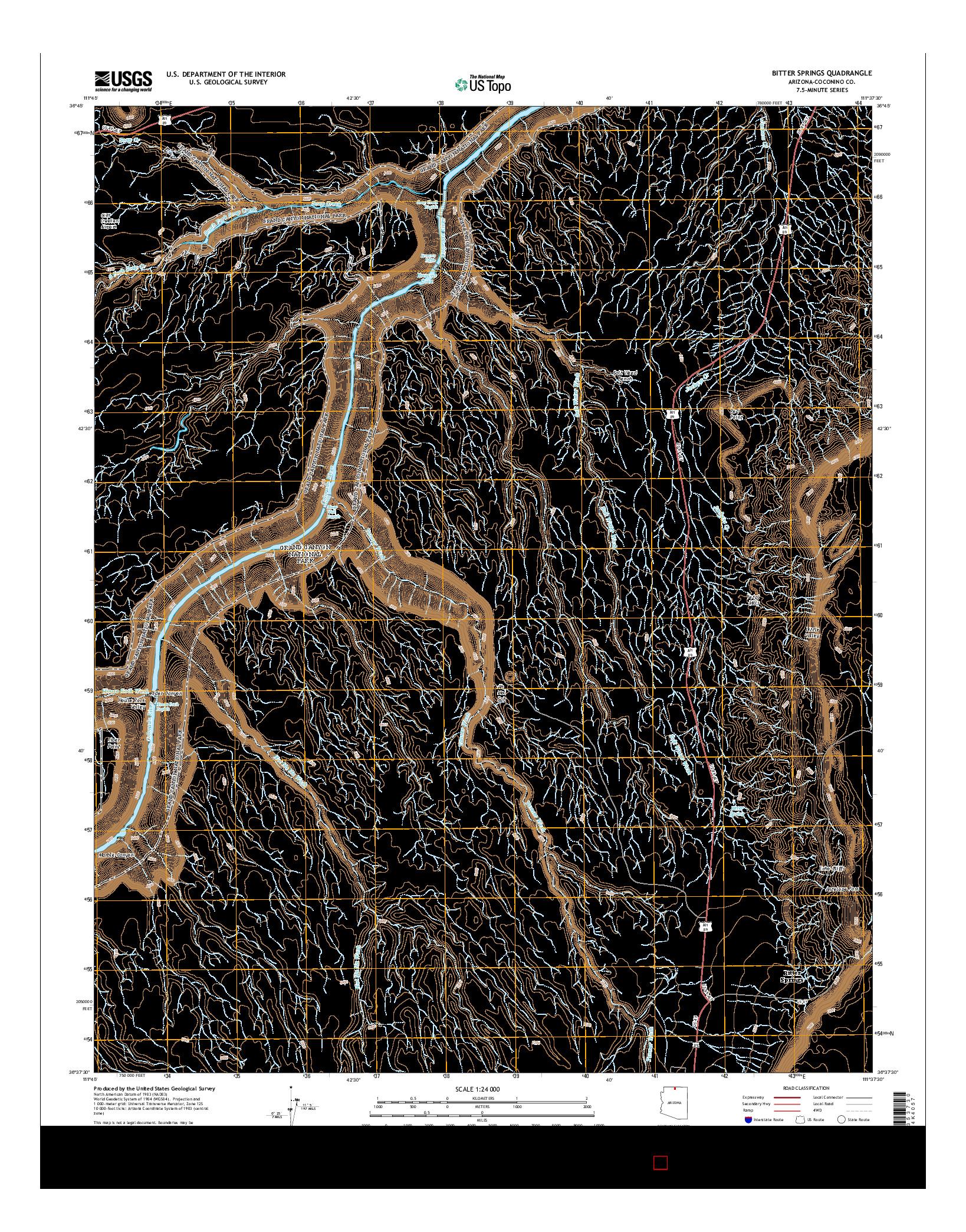 USGS US TOPO 7.5-MINUTE MAP FOR BITTER SPRINGS, AZ 2014