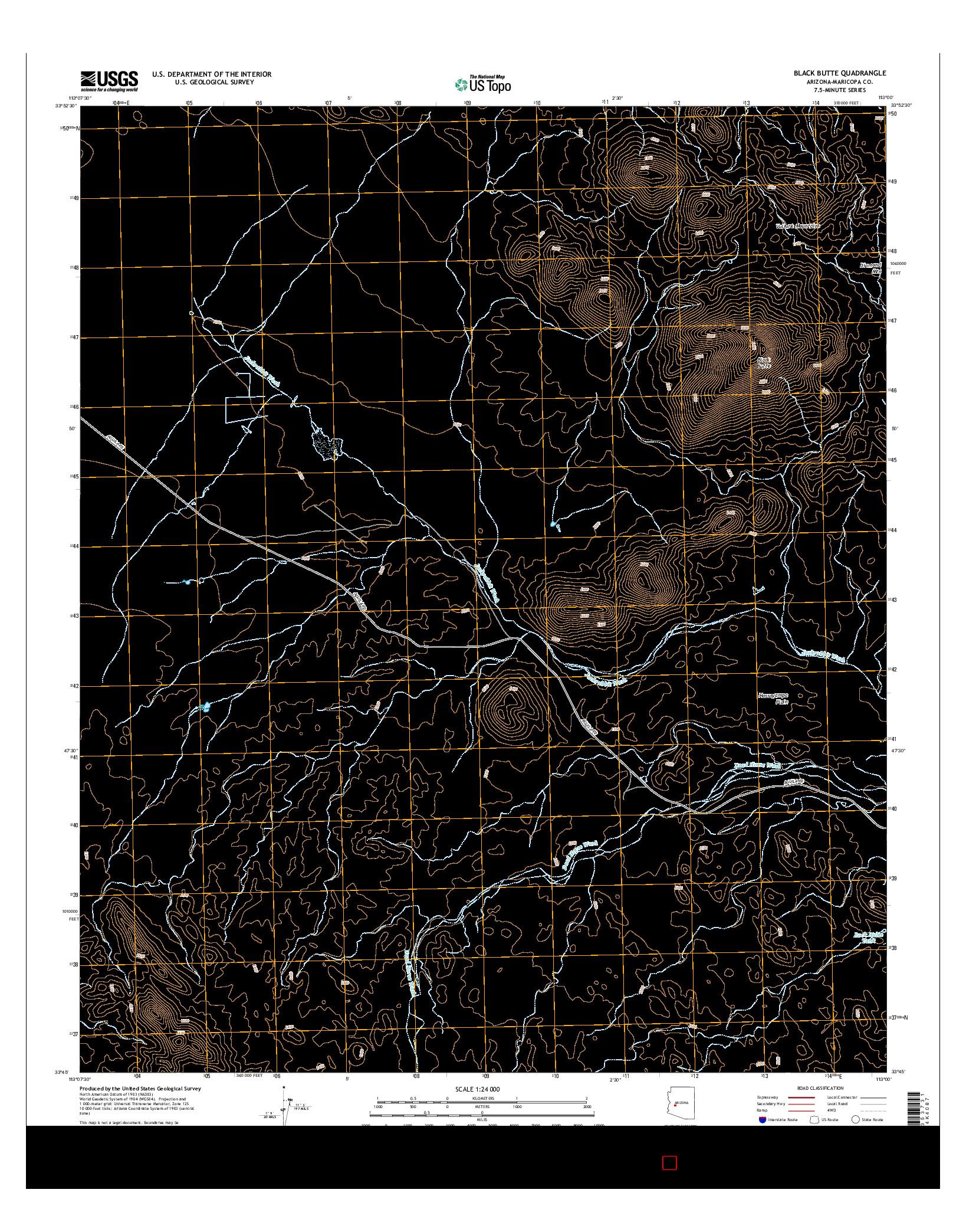 USGS US TOPO 7.5-MINUTE MAP FOR BLACK BUTTE, AZ 2014