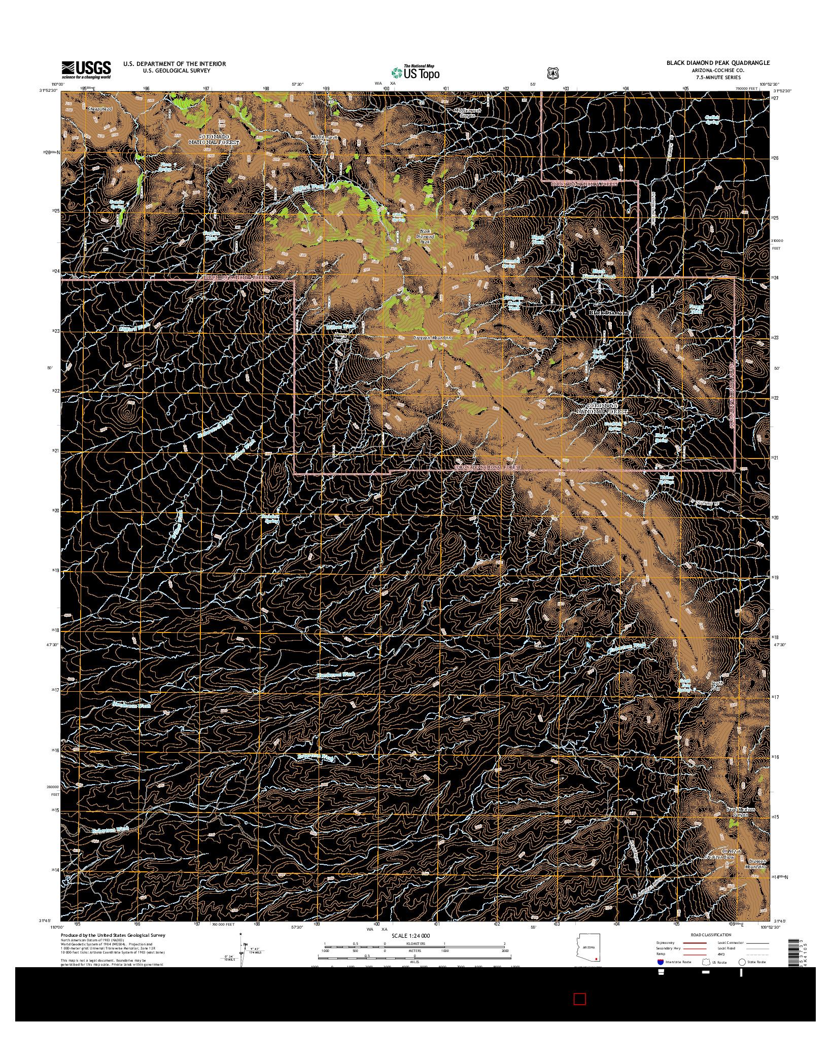 USGS US TOPO 7.5-MINUTE MAP FOR BLACK DIAMOND PEAK, AZ 2014