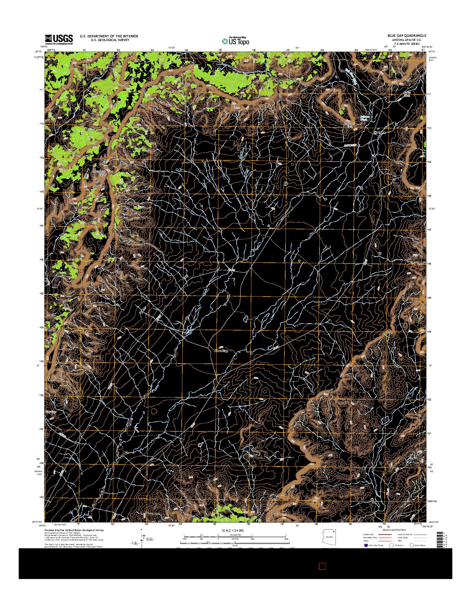 USGS US TOPO 7.5-MINUTE MAP FOR BLUE GAP, AZ 2014