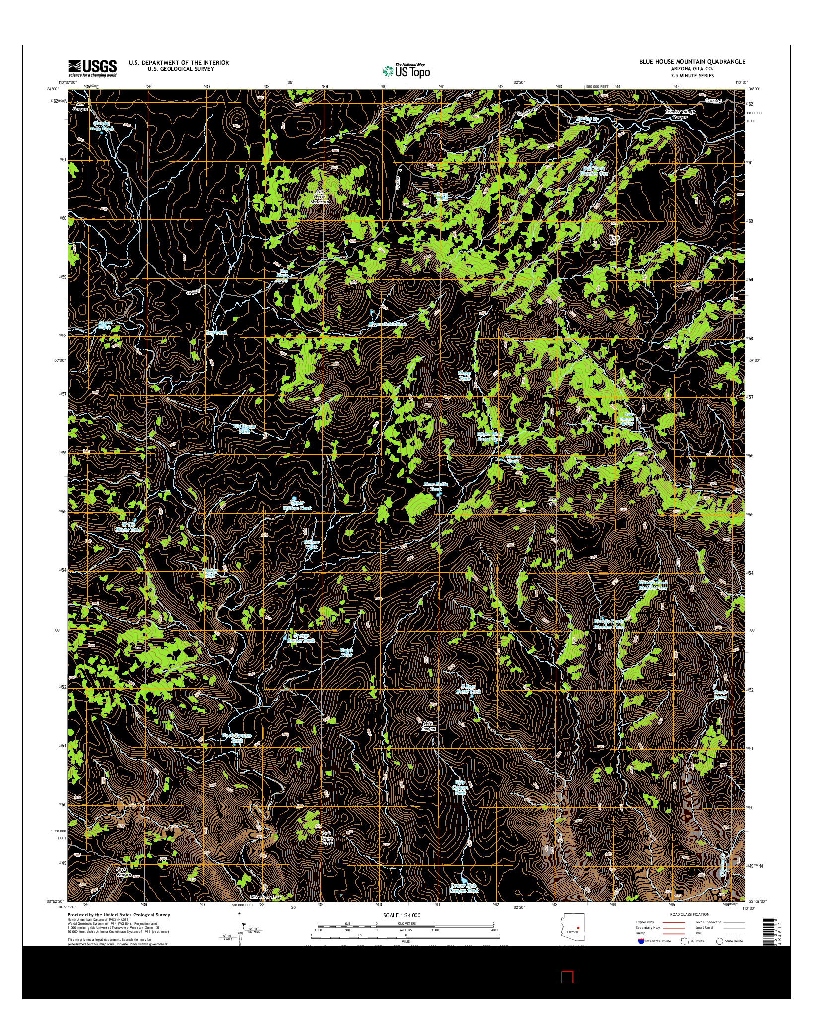 USGS US TOPO 7.5-MINUTE MAP FOR BLUE HOUSE MOUNTAIN, AZ 2014