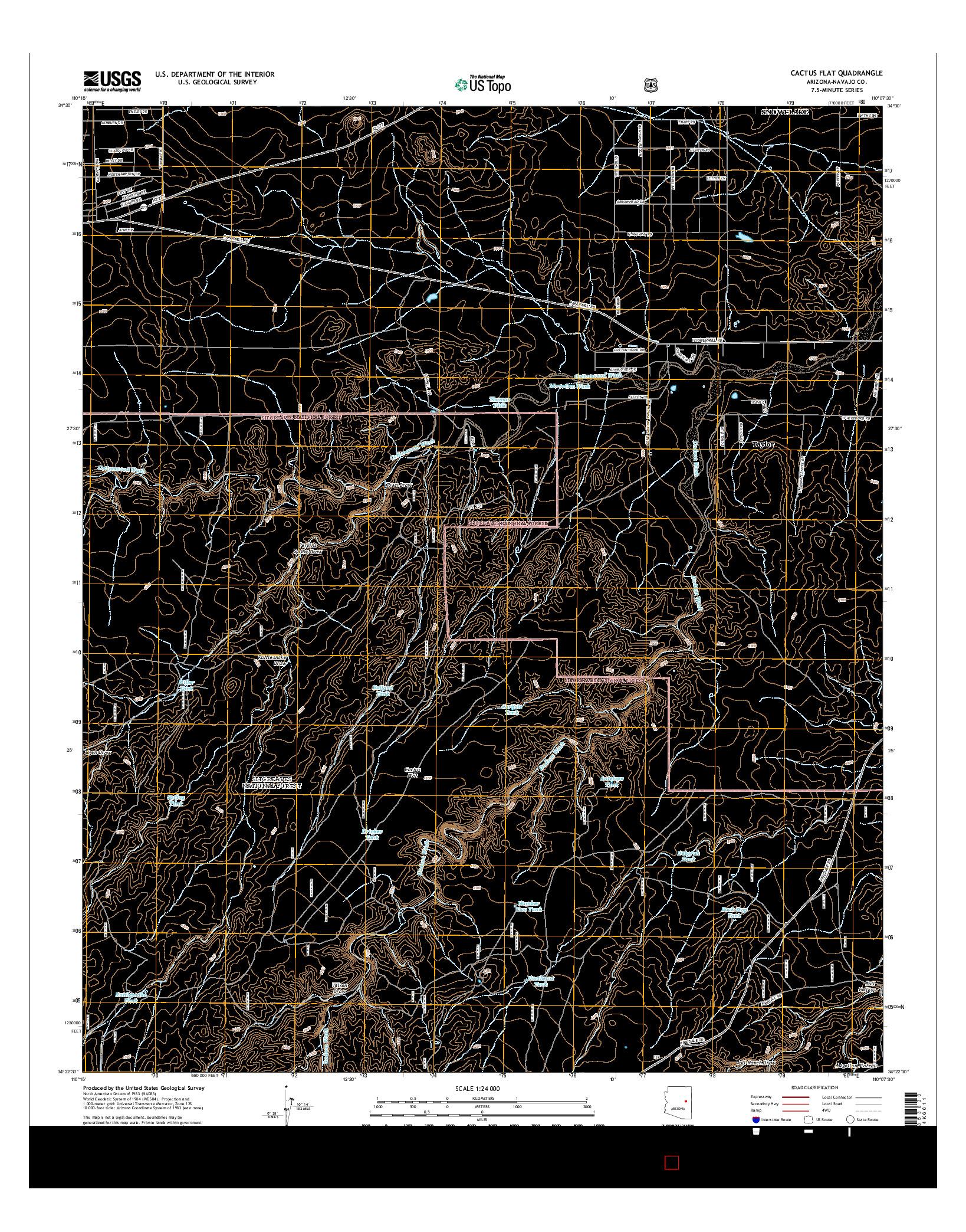 USGS US TOPO 7.5-MINUTE MAP FOR CACTUS FLAT, AZ 2014