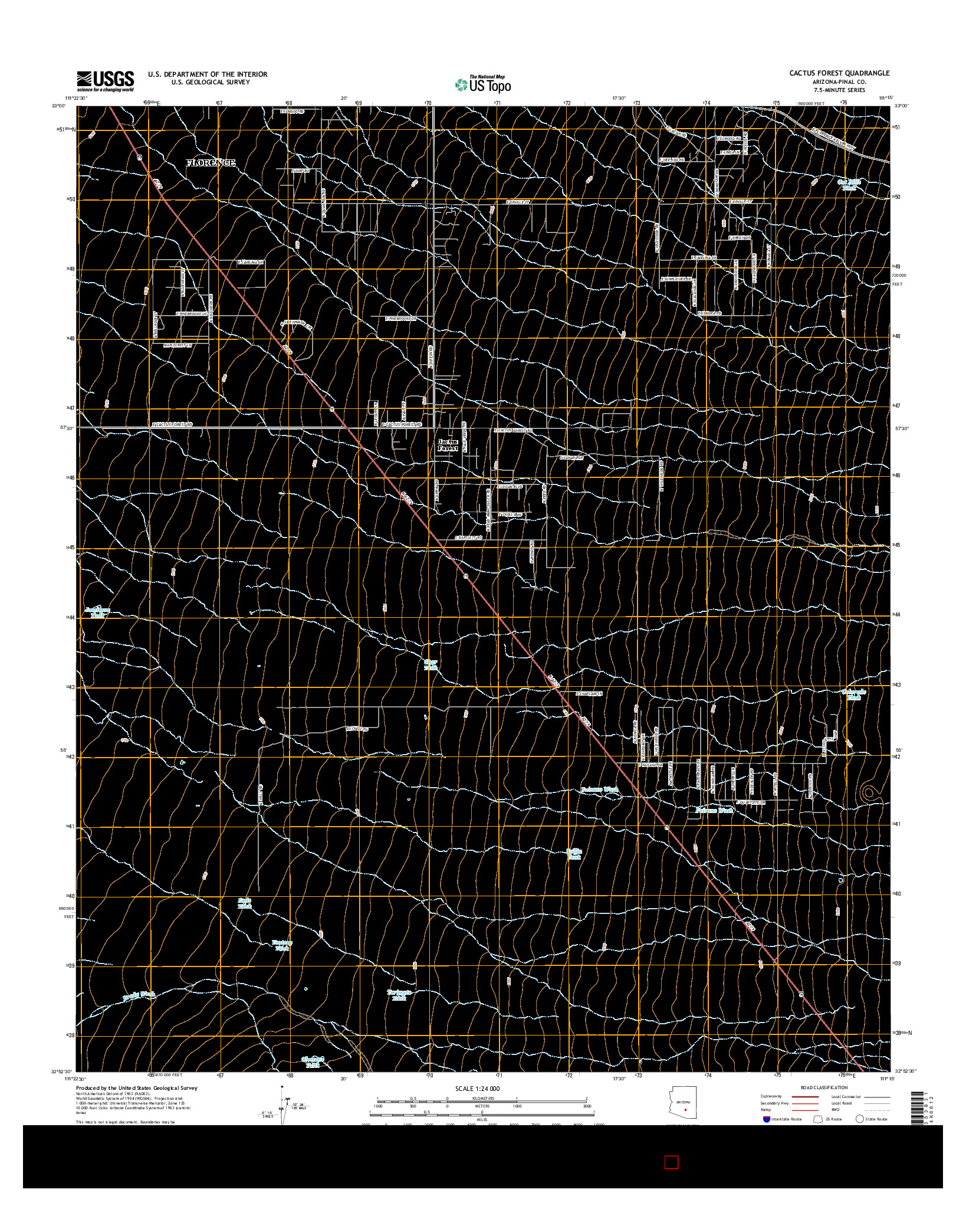 USGS US TOPO 7.5-MINUTE MAP FOR CACTUS FOREST, AZ 2014
