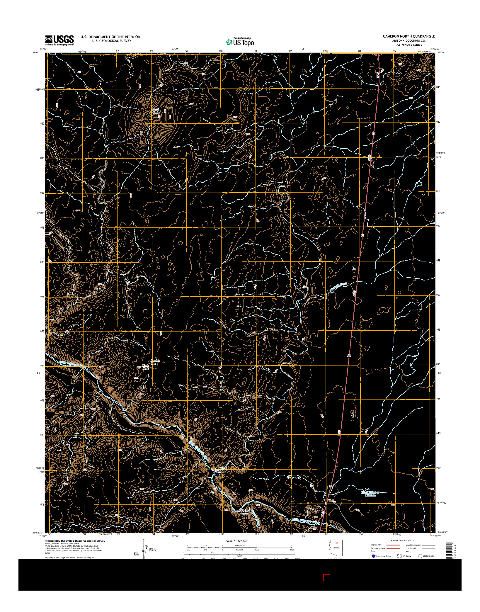 USGS US TOPO 7.5-MINUTE MAP FOR CAMERON NORTH, AZ 2014