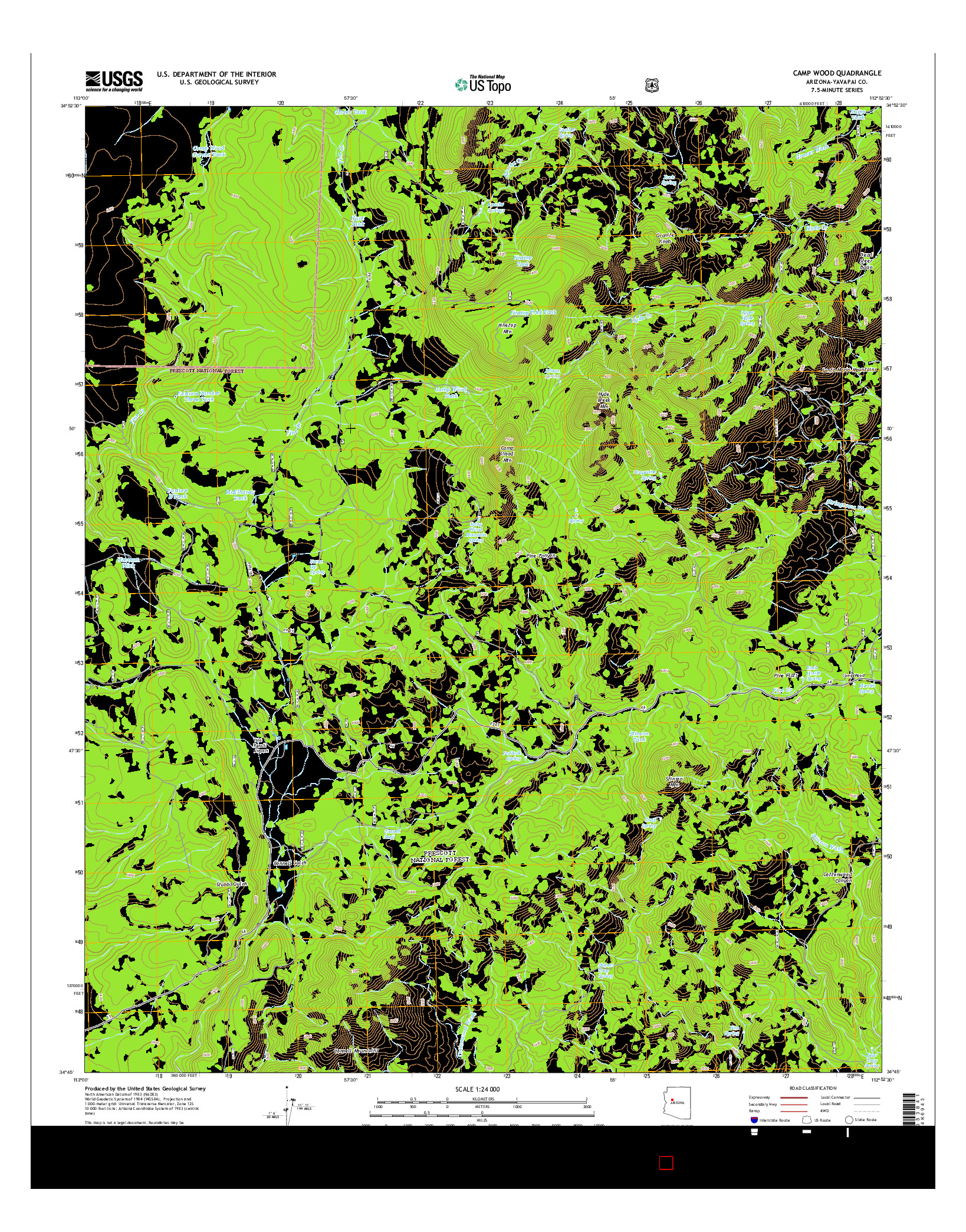 USGS US TOPO 7.5-MINUTE MAP FOR CAMP WOOD, AZ 2014