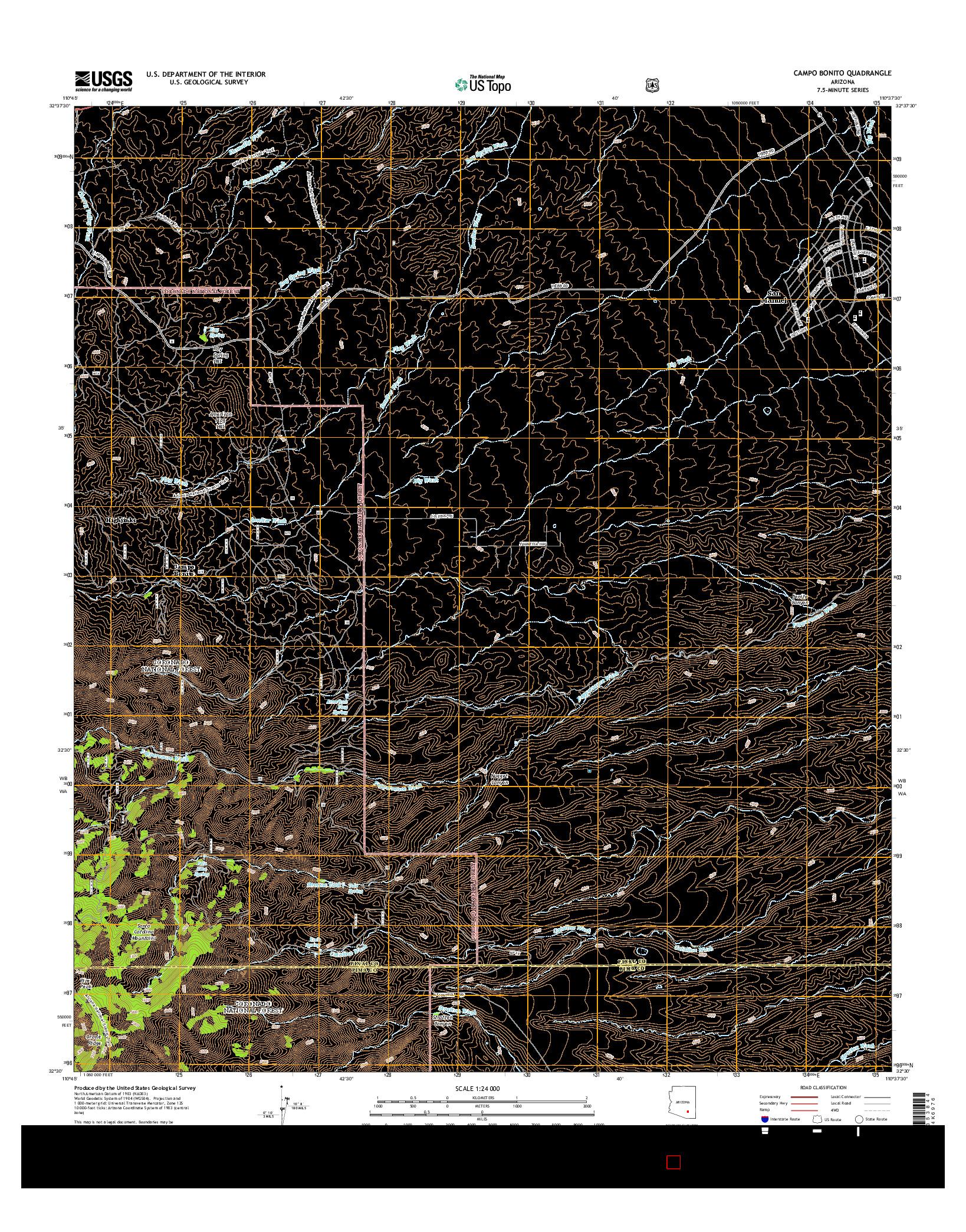 USGS US TOPO 7.5-MINUTE MAP FOR CAMPO BONITO, AZ 2014